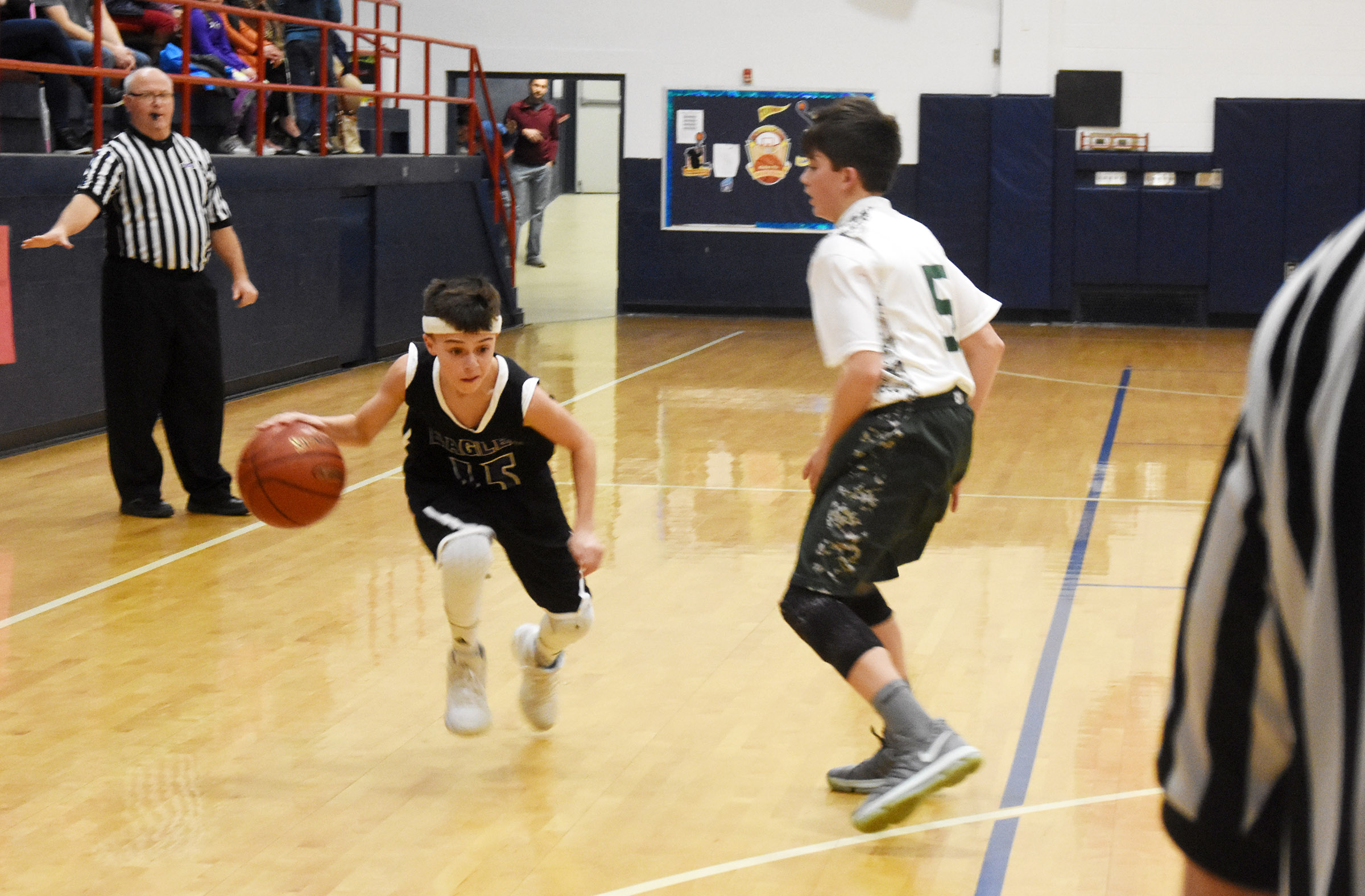 CMS seventh-grader Chase Hord drives the ball.