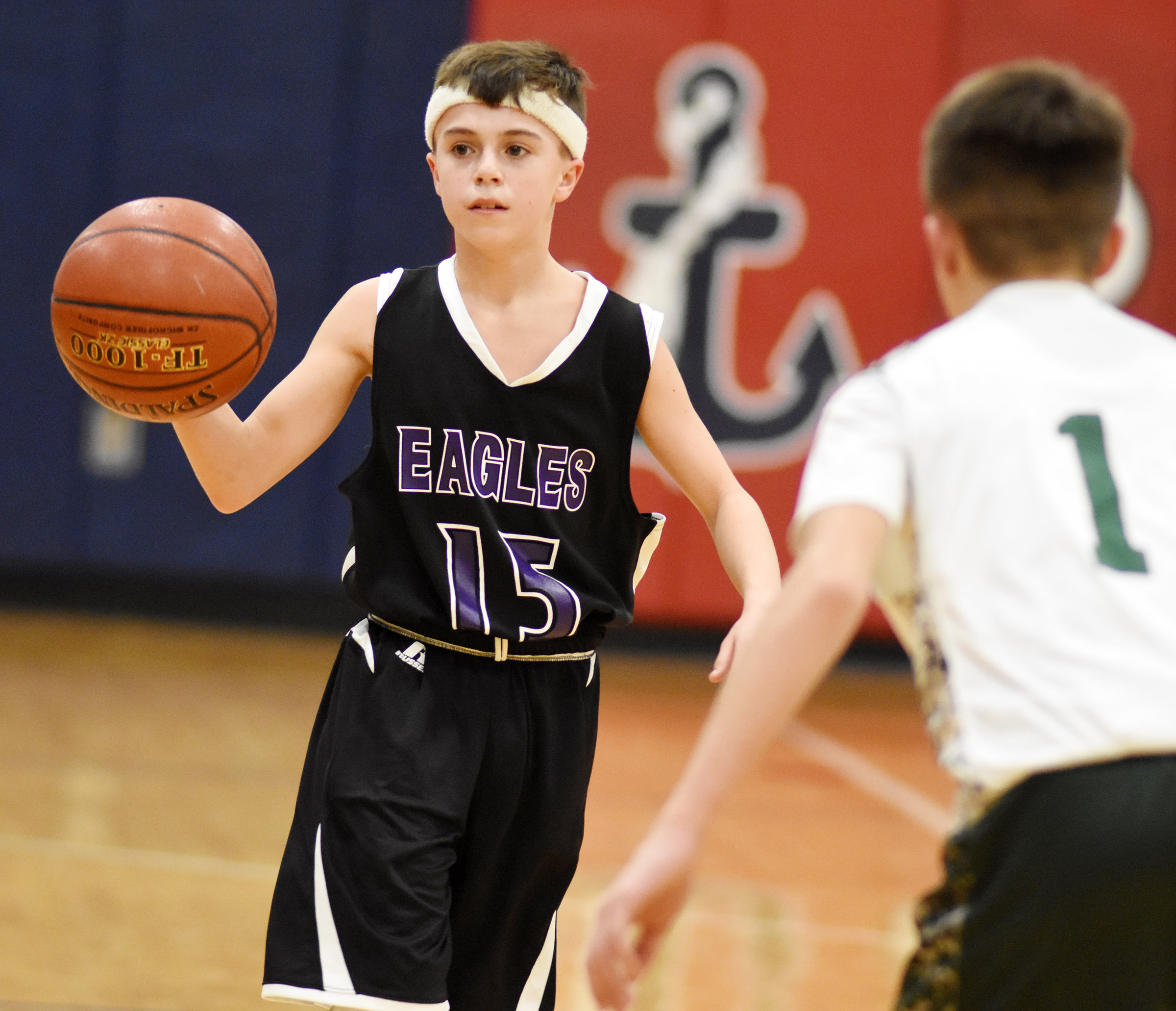 CMS seventh-grader Chase Hord looks for a teammate.