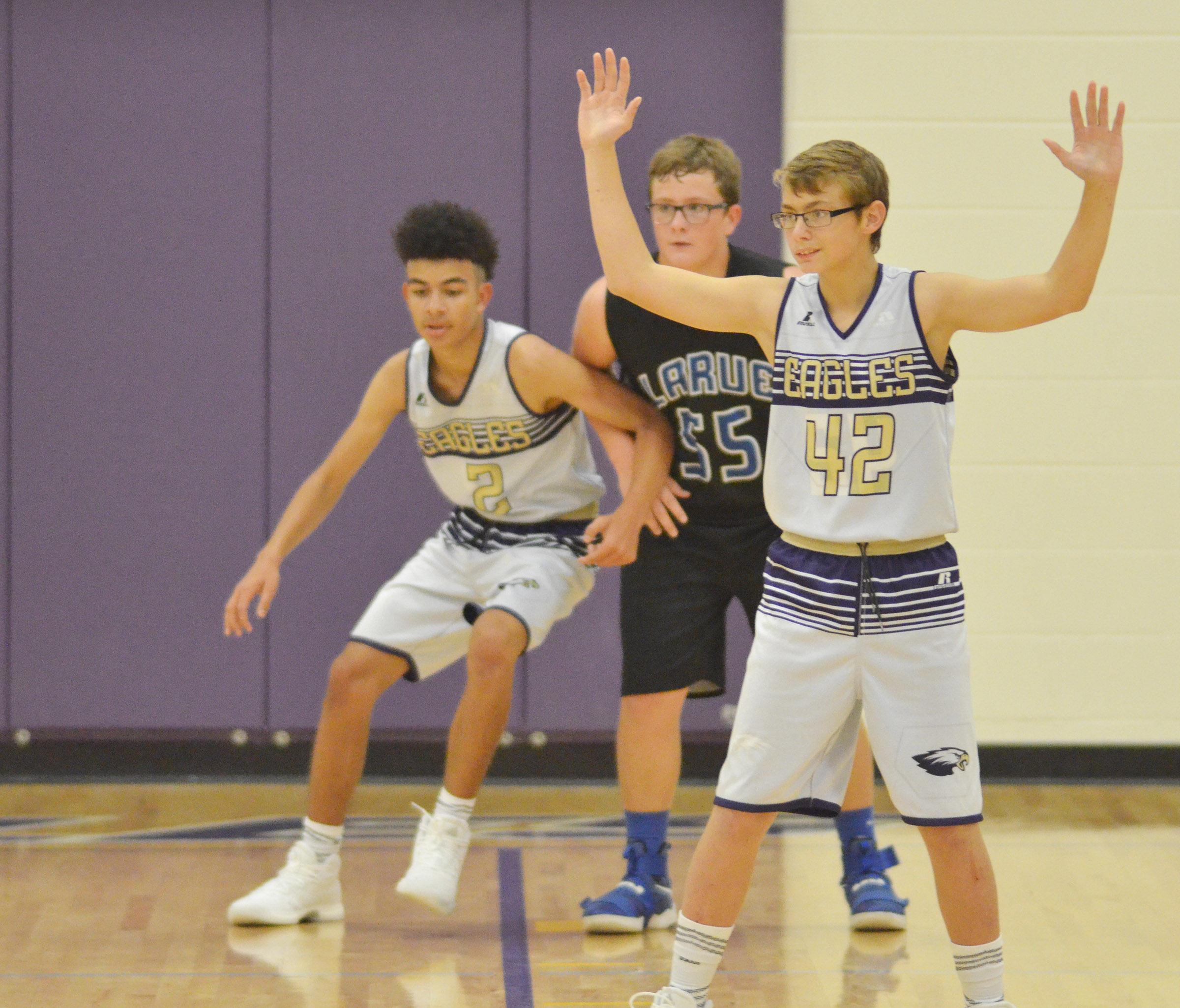 CMS eighth-grader Jarred Mays plays defense.