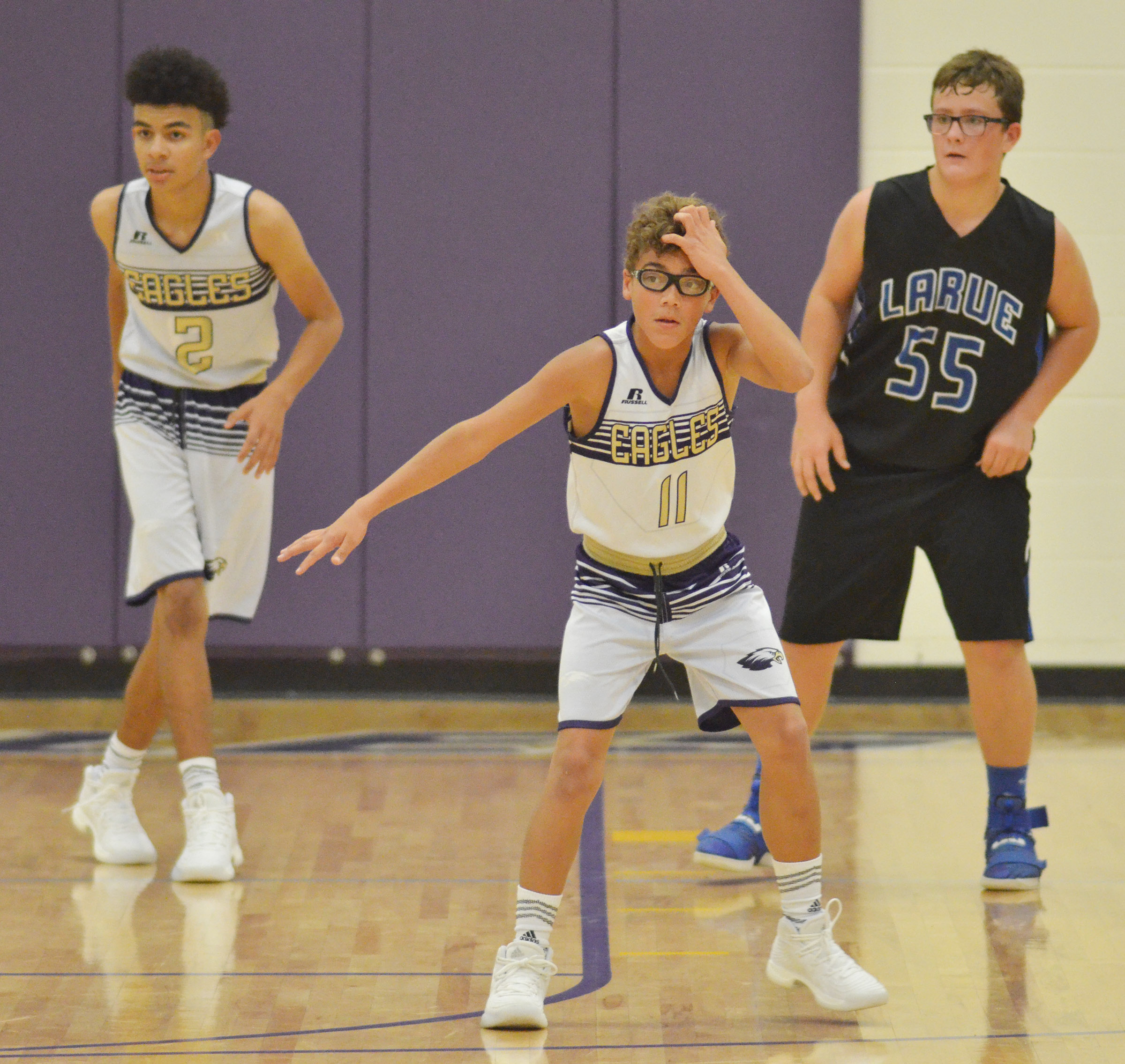 CMS eighth-grader Logan Phillips plays defense.