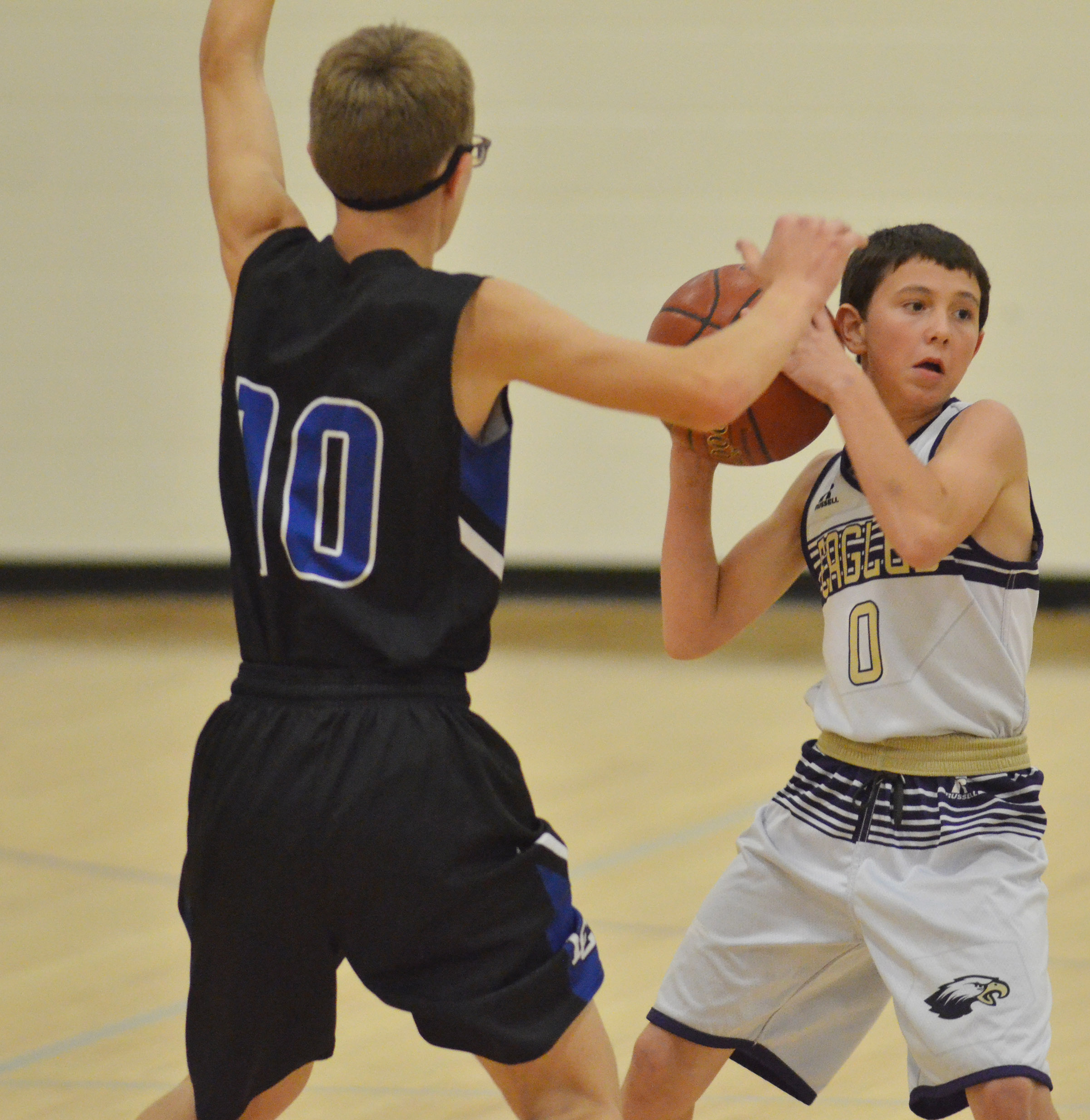 CMS eighth-grader Dakota Harris looks to pass.