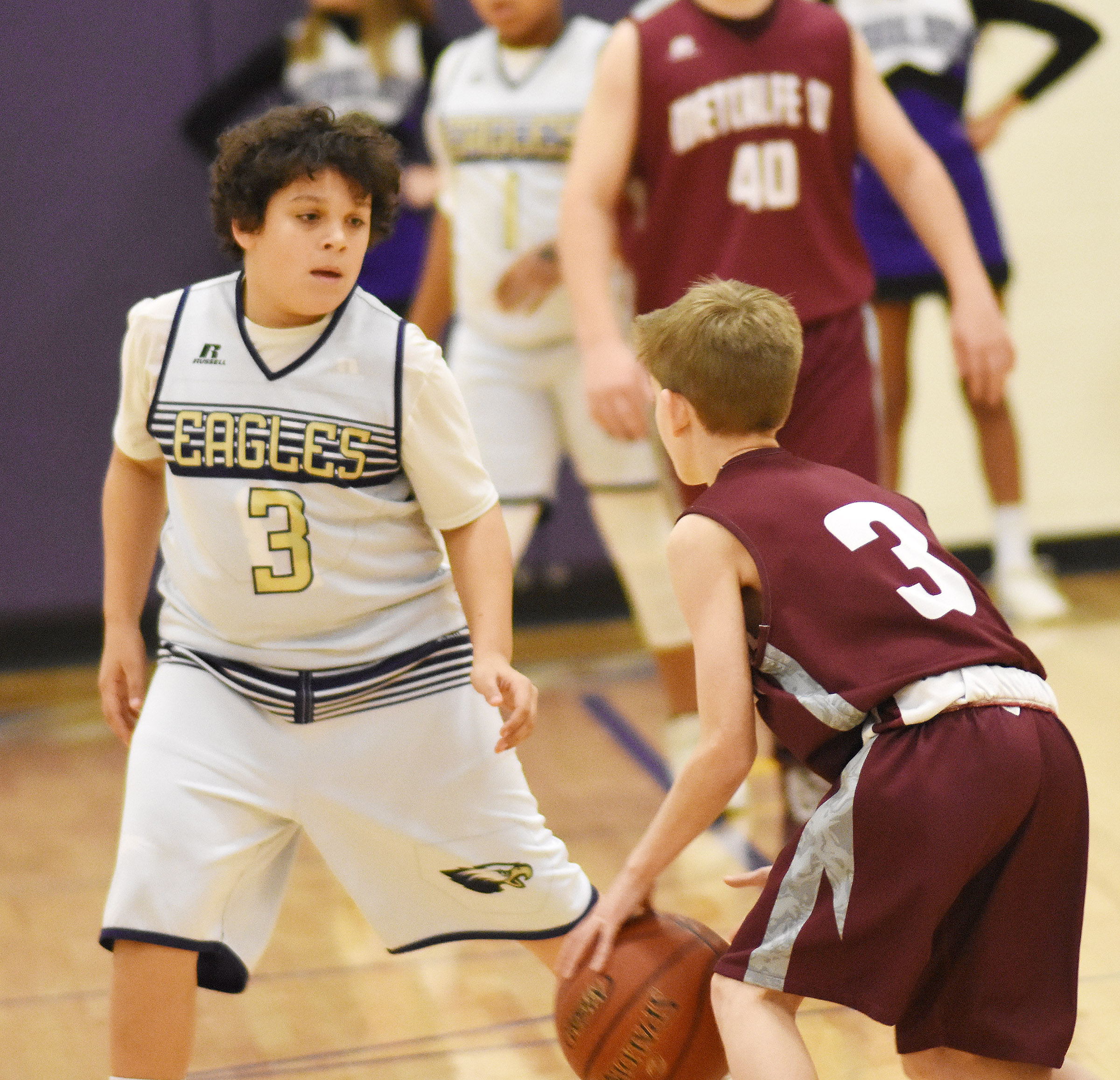 CMS seventh-grader Kaydon Taylor watches the ball.