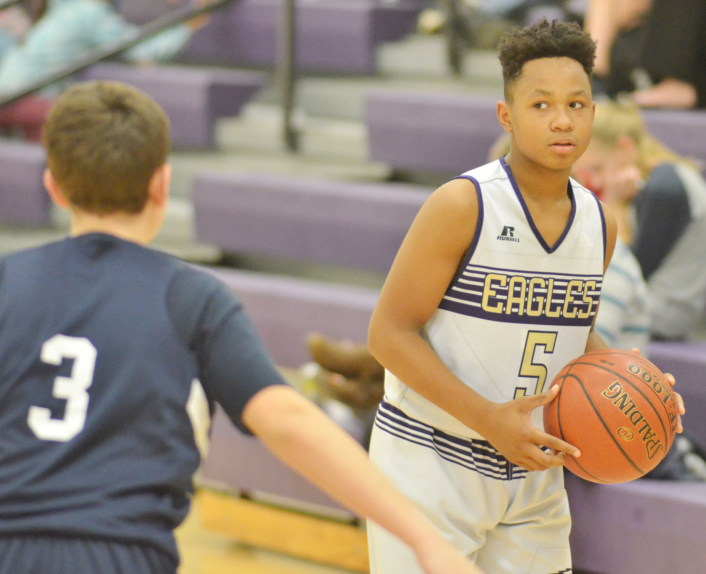 CMS seventh-grader Deondre Weathers looks for a teammate.