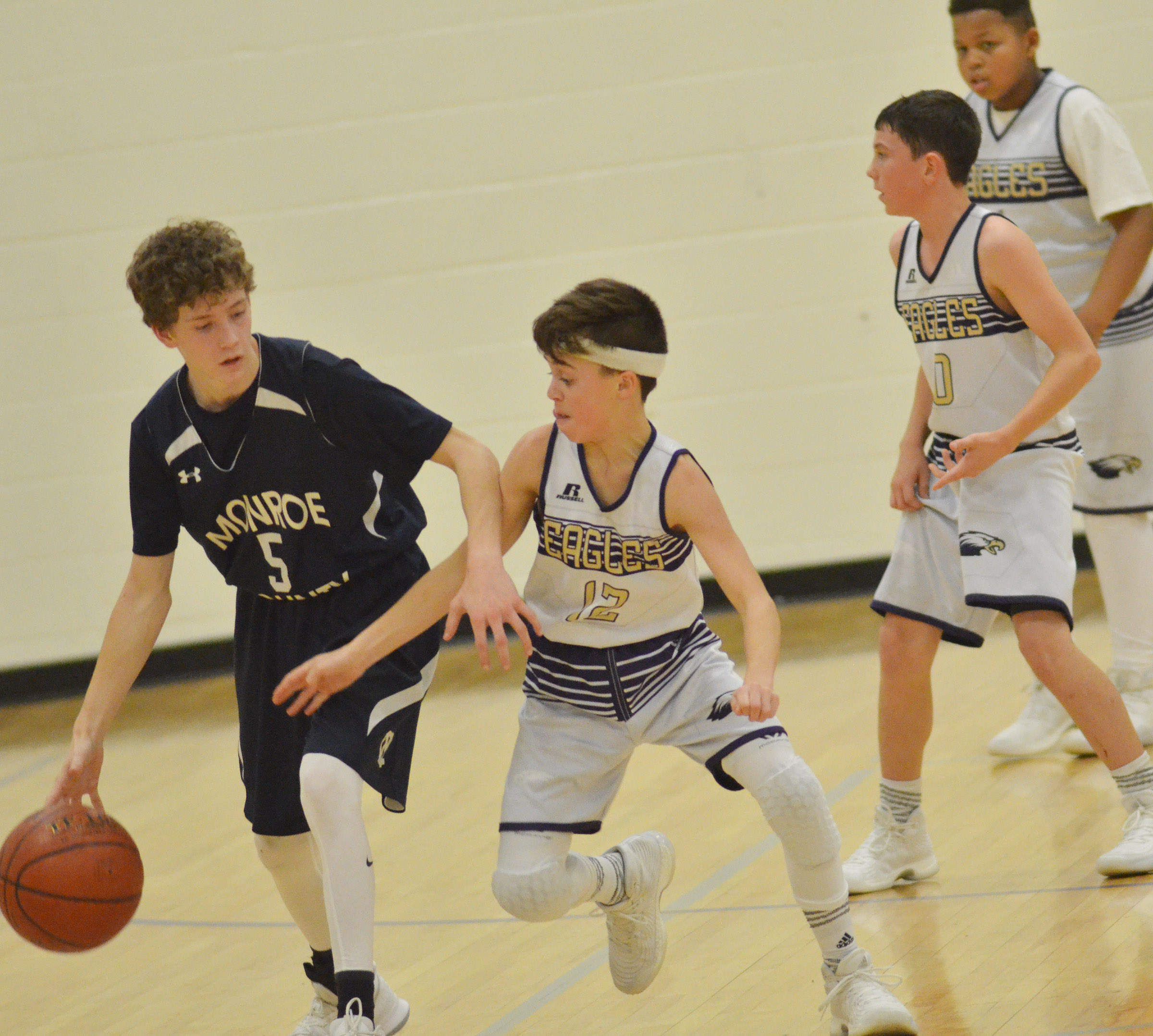CMS seventh-grader Chase Hord tries to steal the ball.