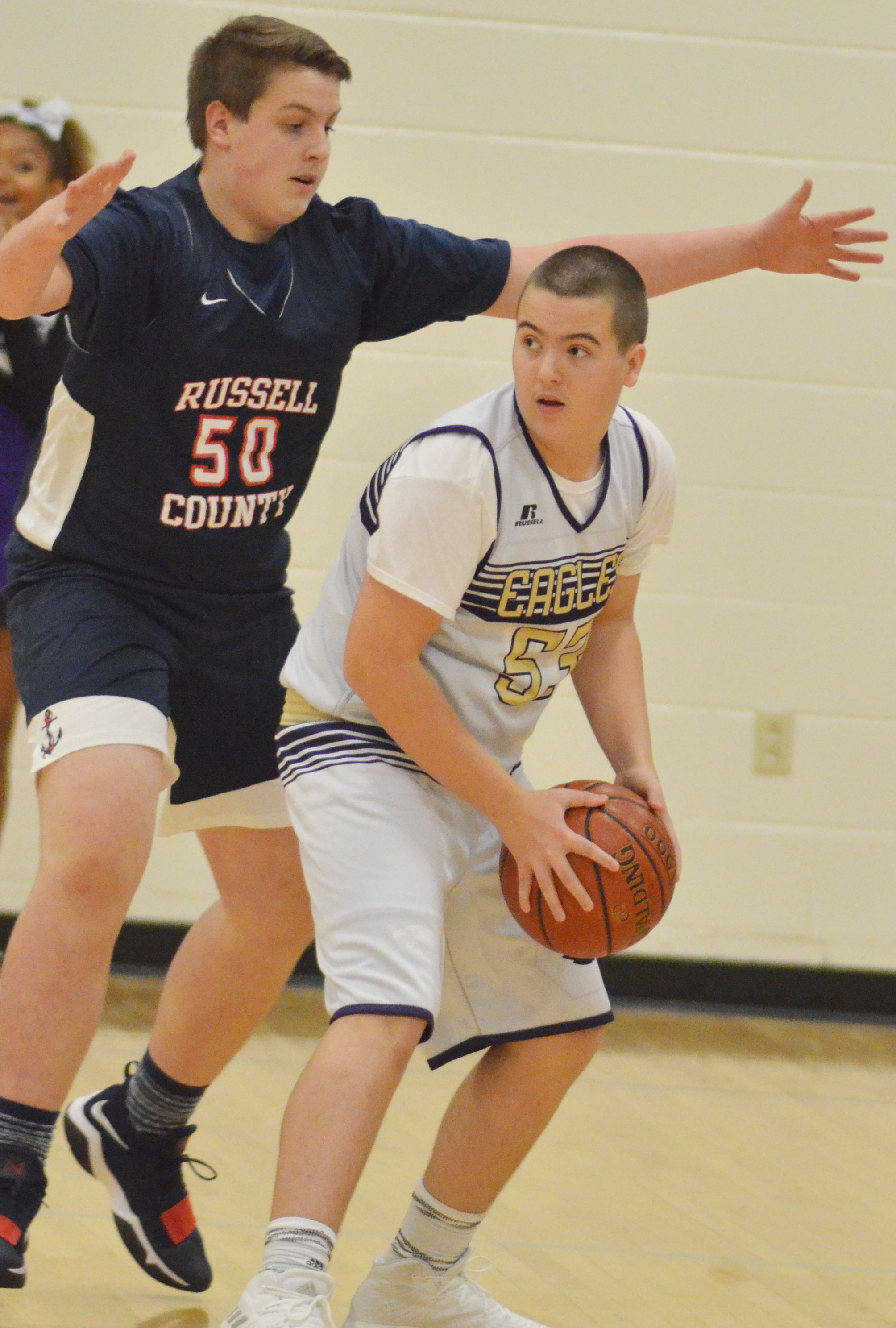 CMS eighth-grader Jack Sabo looks to pass.