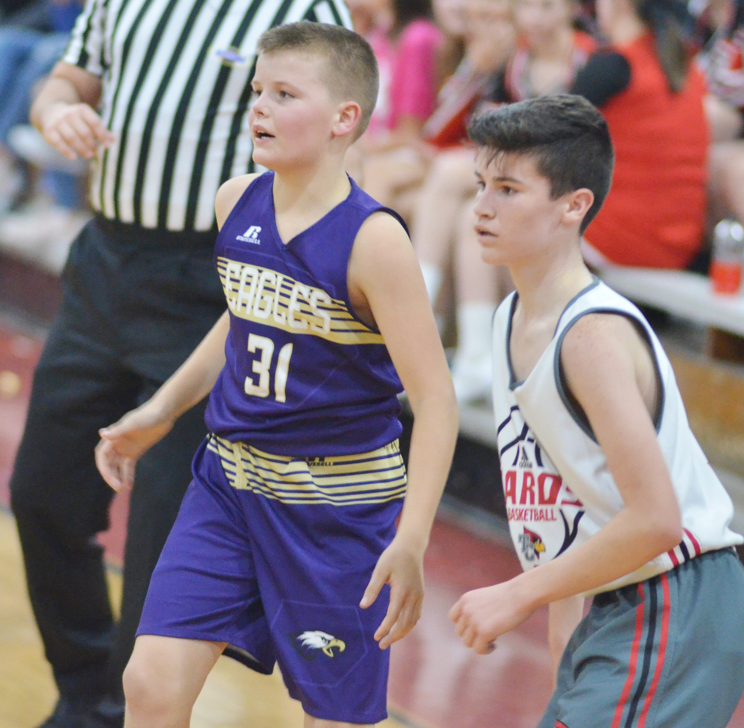 CMS seventh-grader Konner Forbis plays defense.