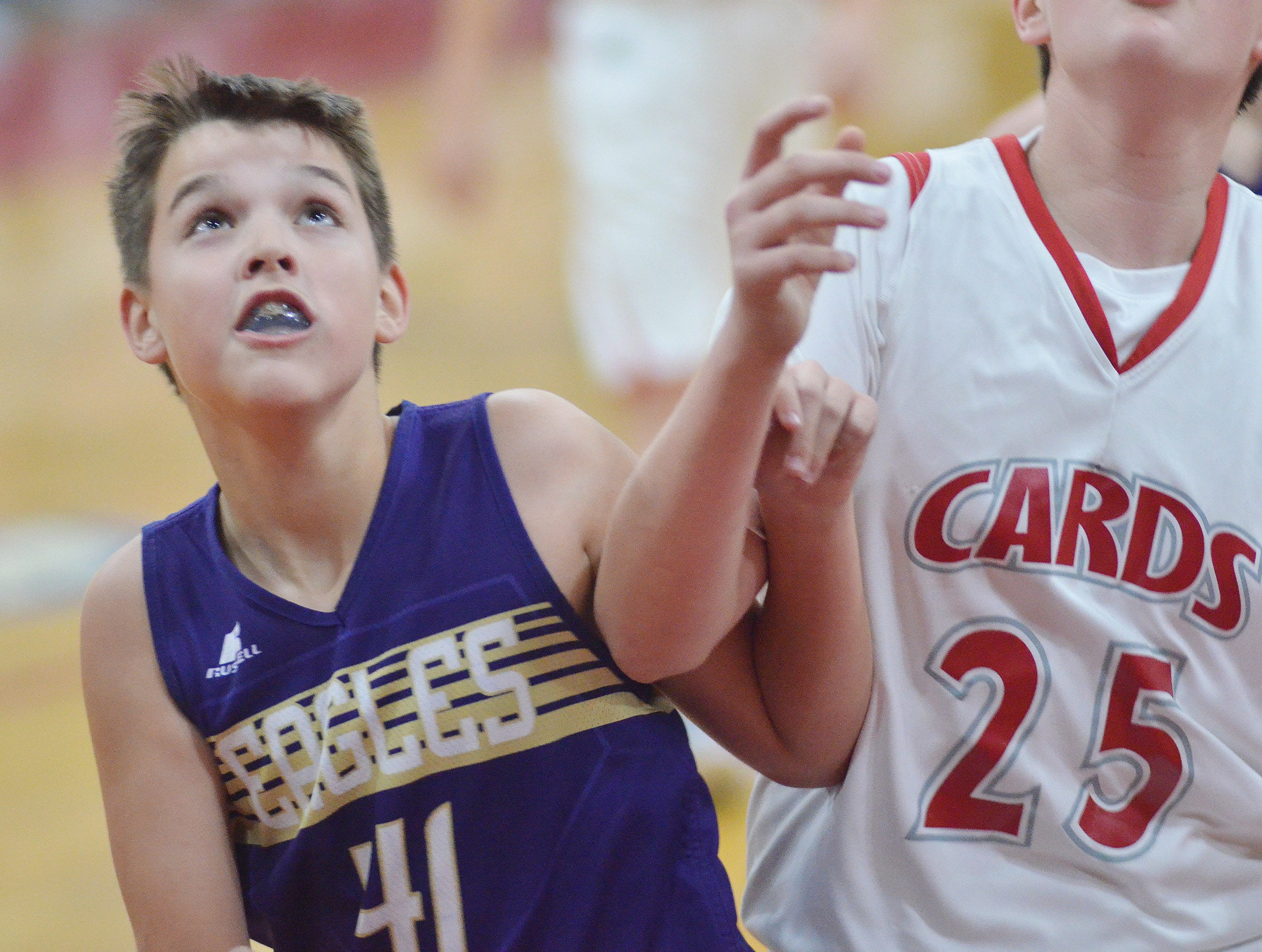 CMS sixth-grader Kaden Bloyd looks for a rebound.