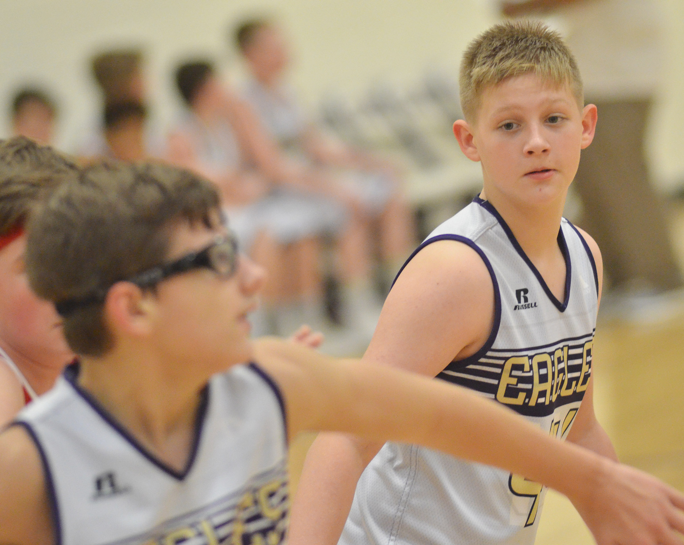CMS sixth-grader Jesse King looks for a rebound.