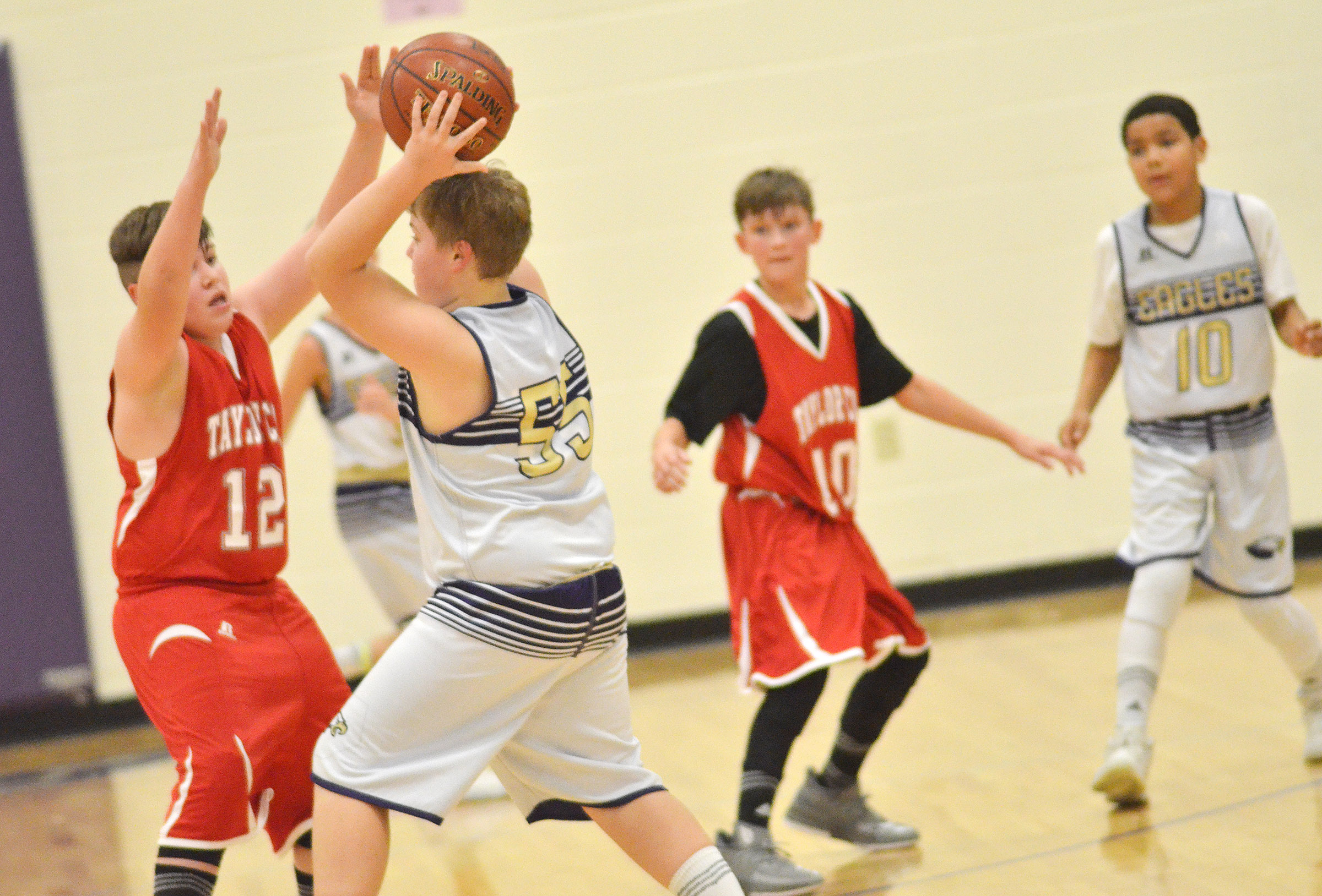 CMS sixth-grader Ryan Grubbs looks to pass.