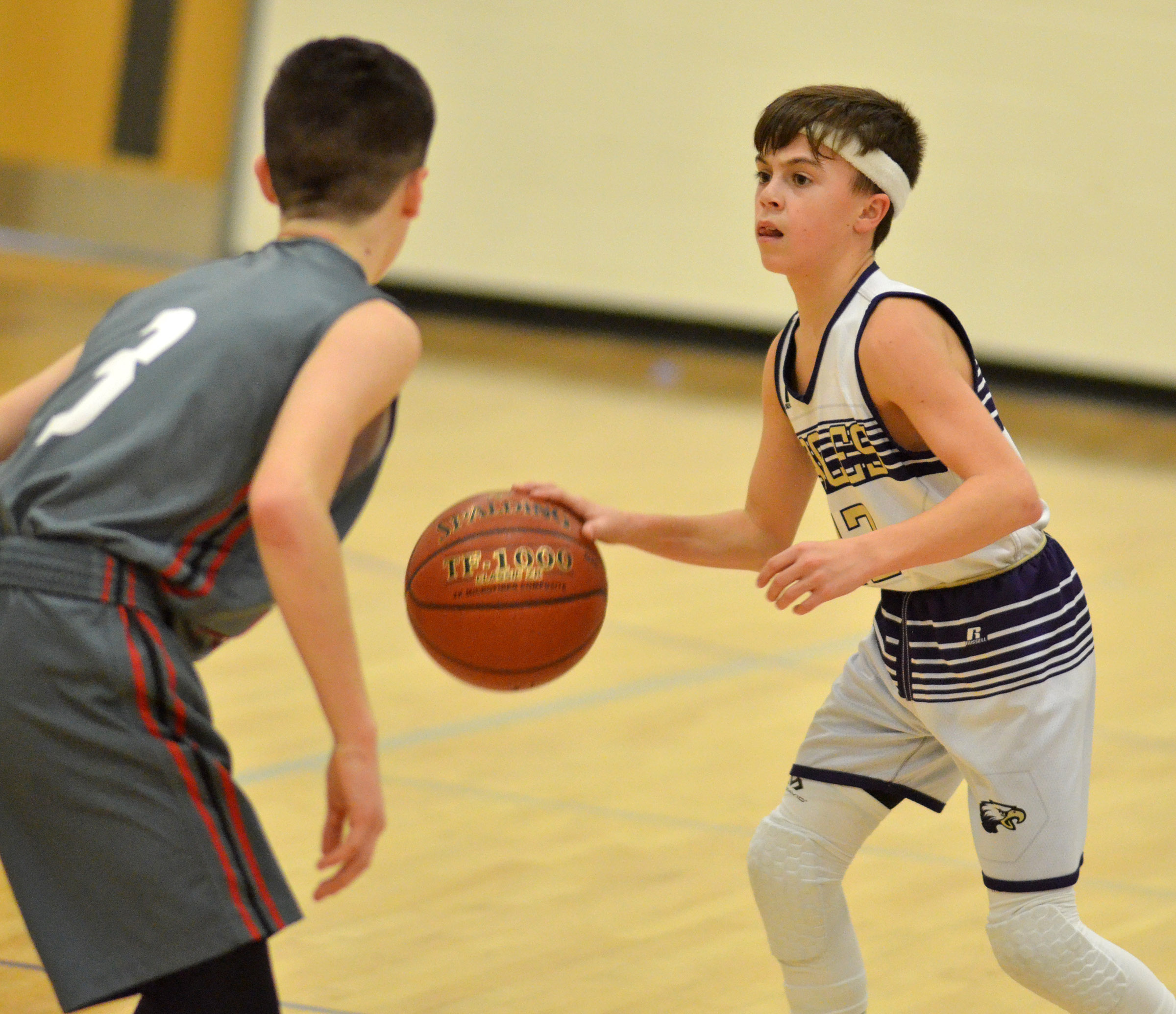 CMS seventh-grader Chase Hord looks to pass.