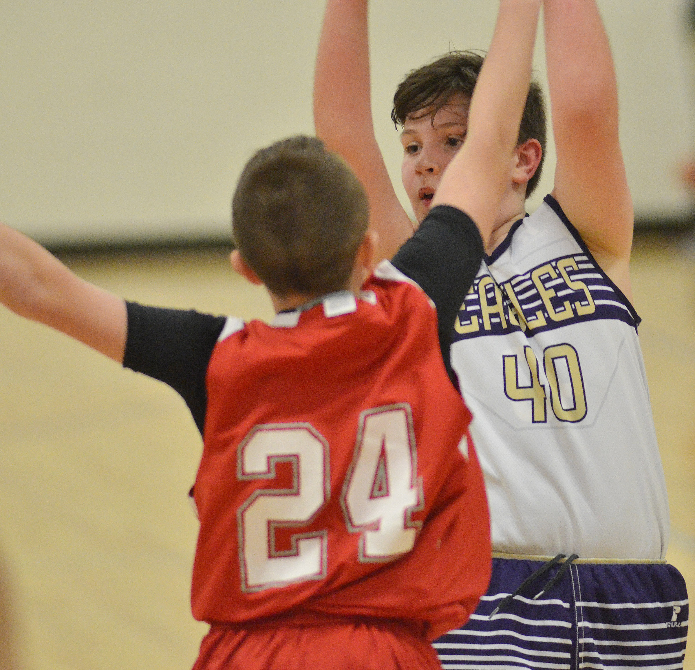 Campbellsville Elementary School fifth-grader Andrew Mardis looks to pass.