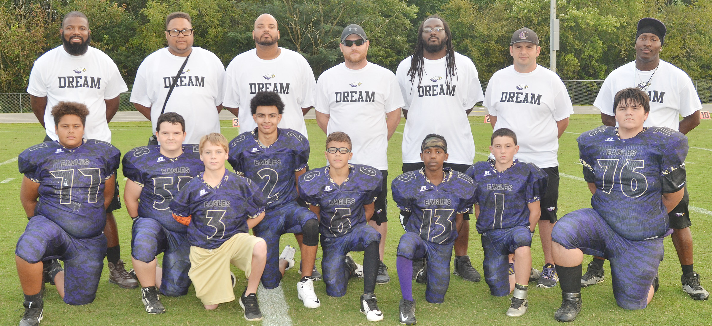 This year's eighth-grade CMS football players were recently honored for their dedication and hard work this season. From left are eighth-graders Brandon Pittman, Adin Hunt, Tuff Harper, Adrien Smith, Logan Phillips, Jadan Furman, Dakota Harris and Logan Rakes. Back, assistant coaches Will Griffin and Bronson Gowdy, head coach Aaron Webb and assistant coaches Isaiah Perkins, Shumari Bridgewater, Tommy Allen and John Gholston.