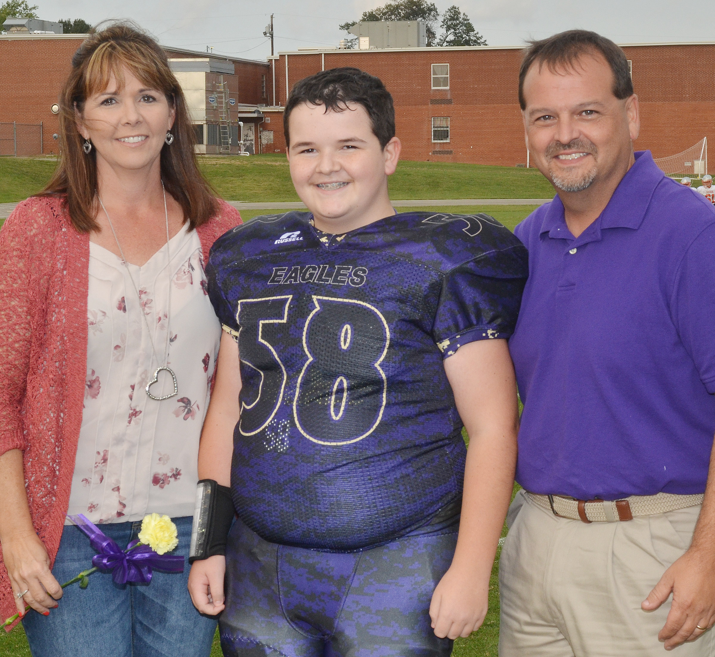 CMS eighth-grader Adin Hunt is honored.