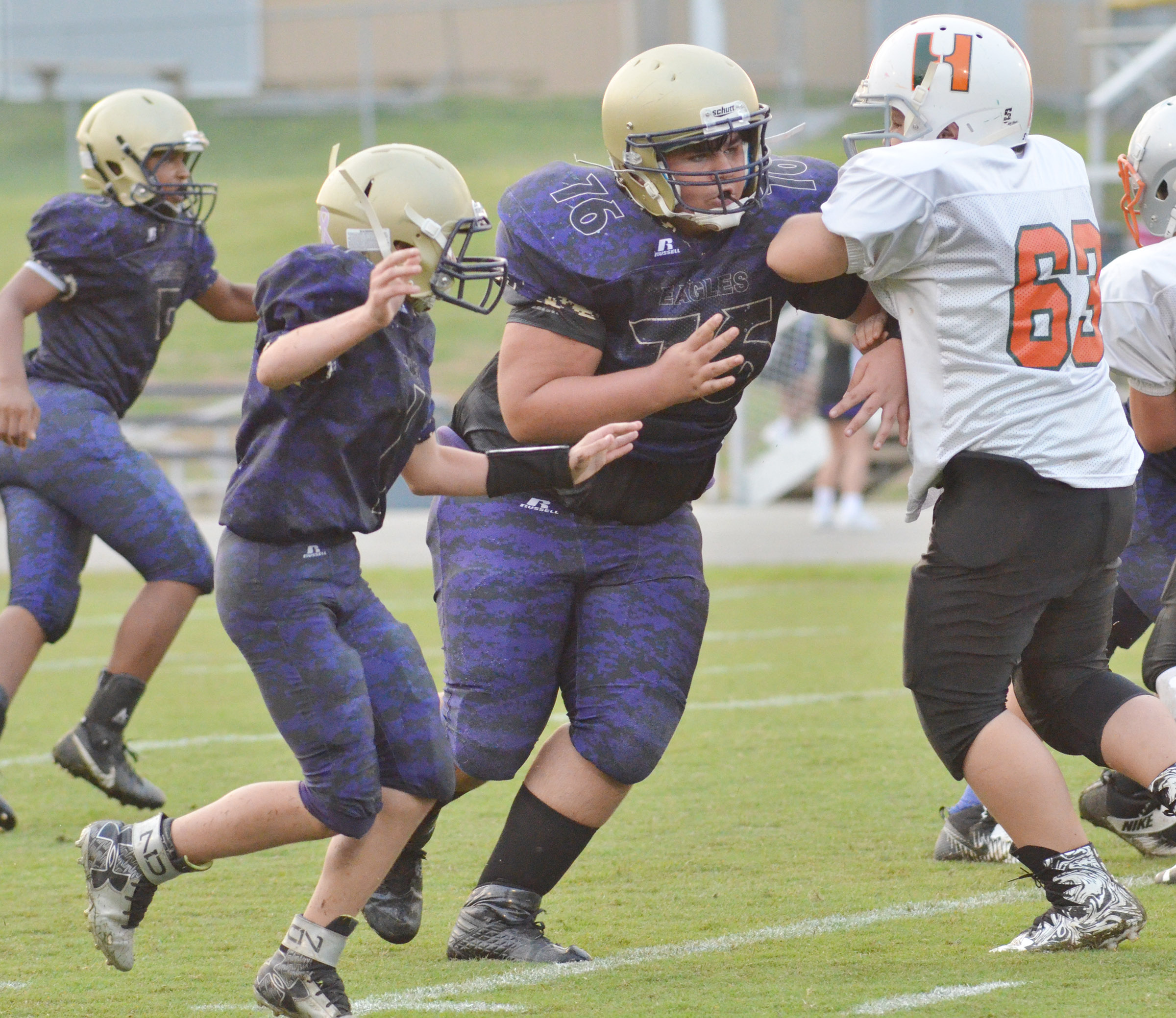 CMS eighth-grader Logan Rakes blocks.
