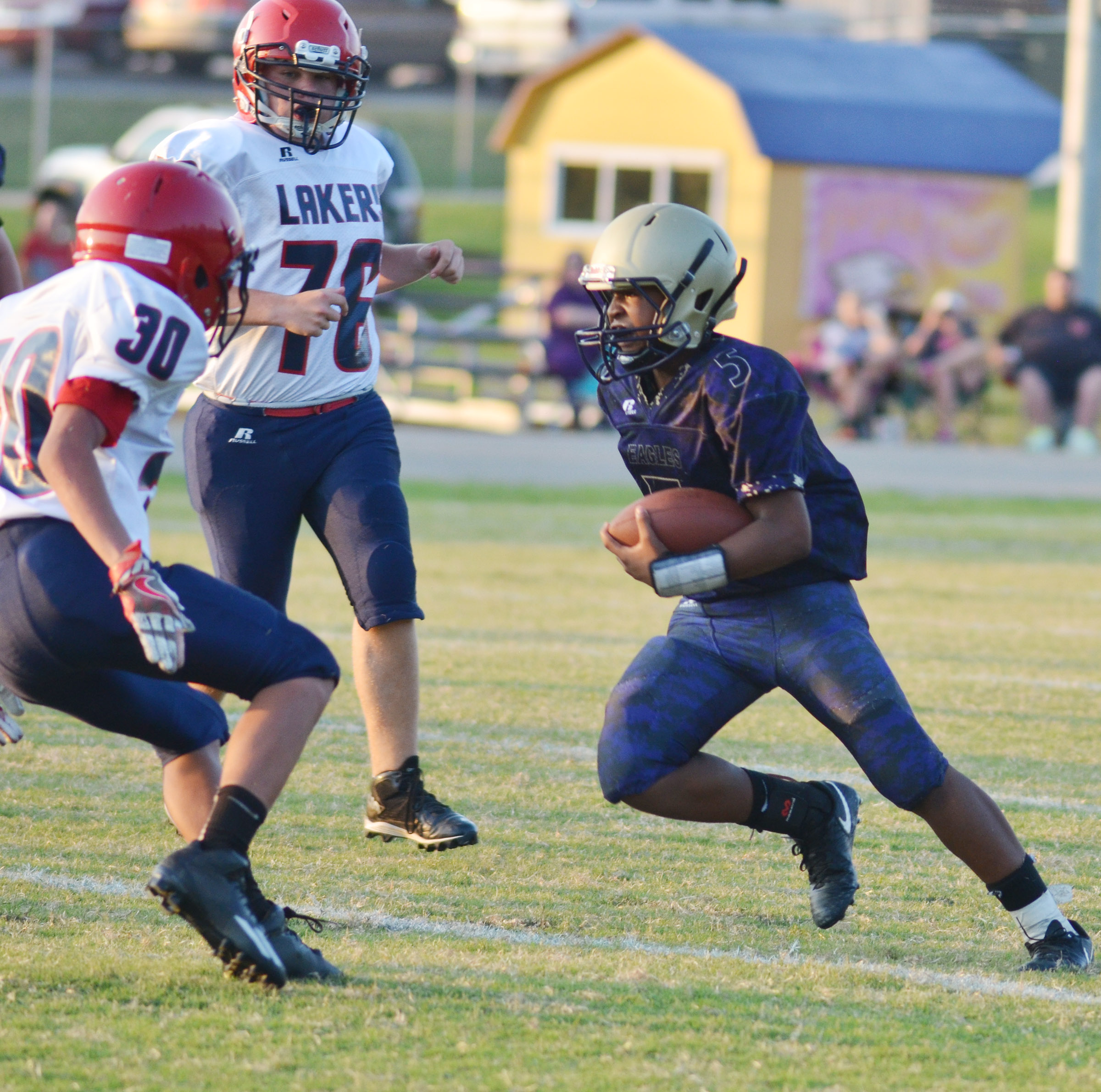 CMS seventh-grader Deondre Weathers runs.