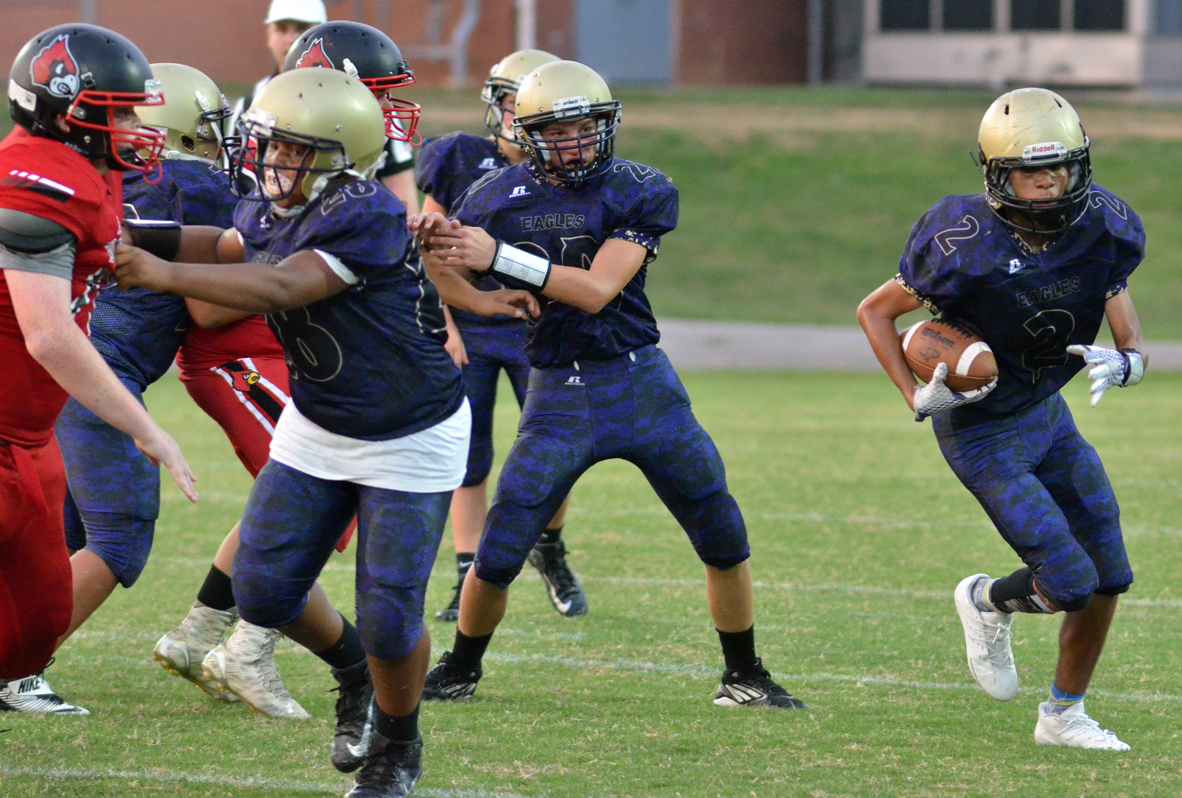 CMS eighth-grader Adrien Smith runs the ball.