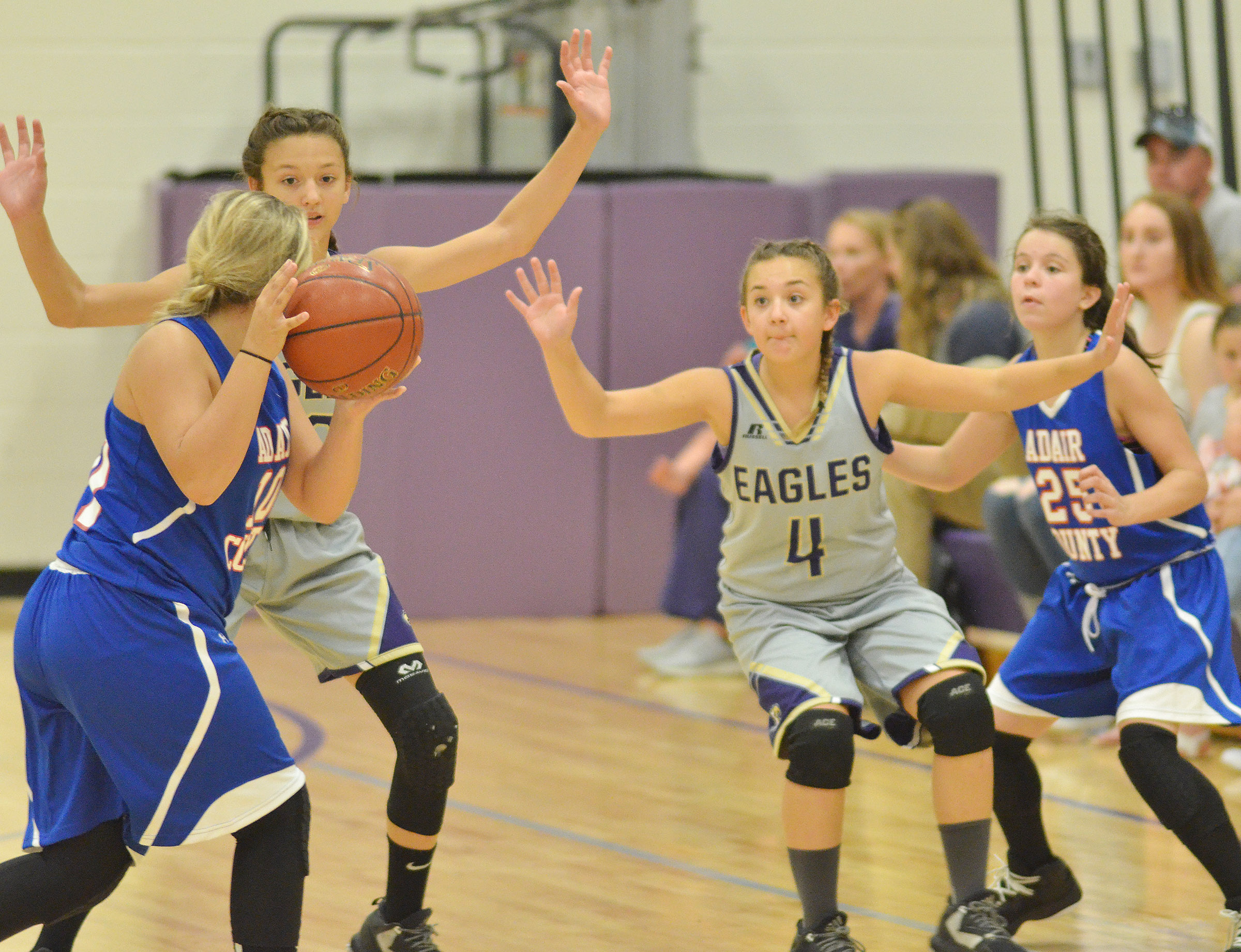 CMS seventh-graders Bri Hayes, at left, and Briana Davis play defense.