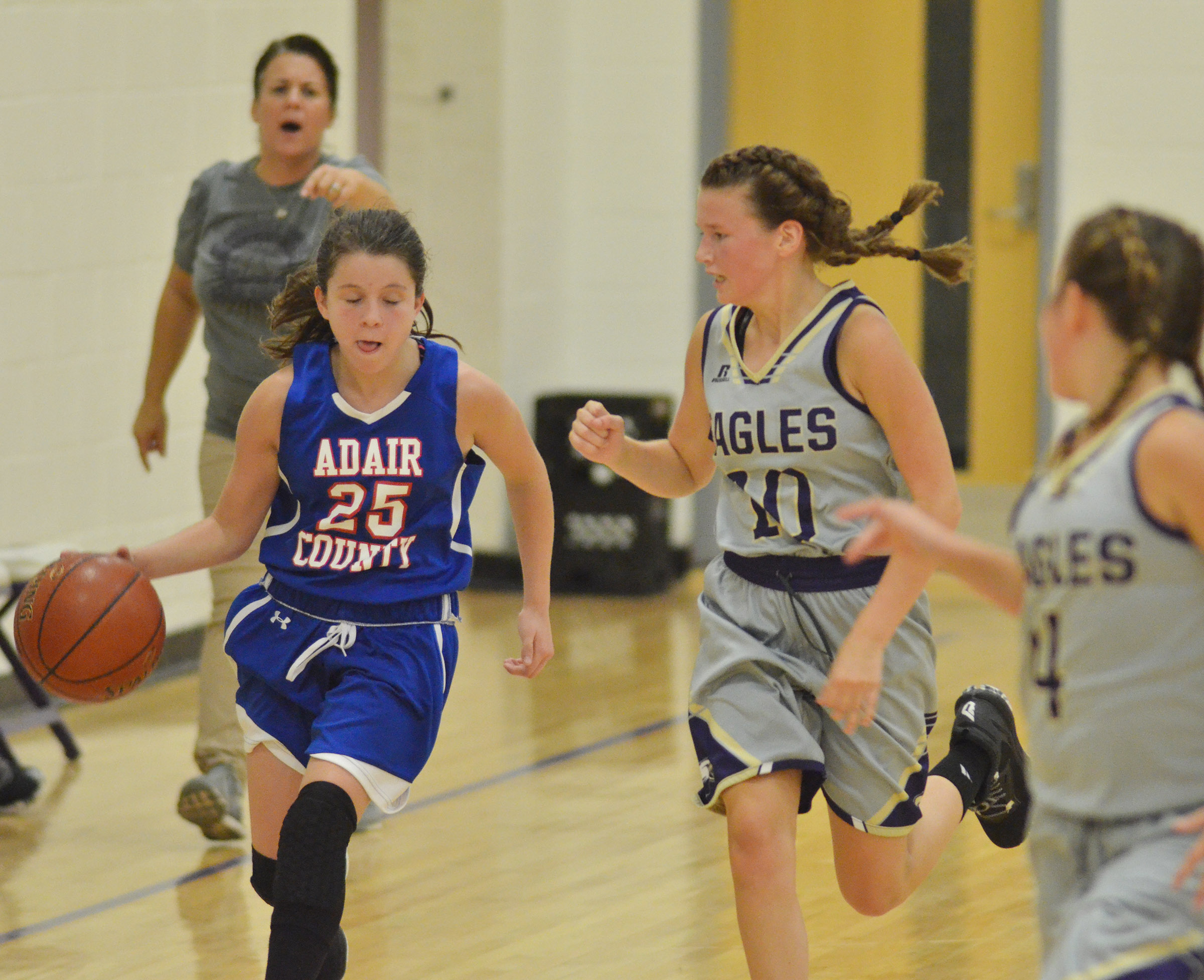 CMS seventh-grader BreAnna Humphress plays defense.