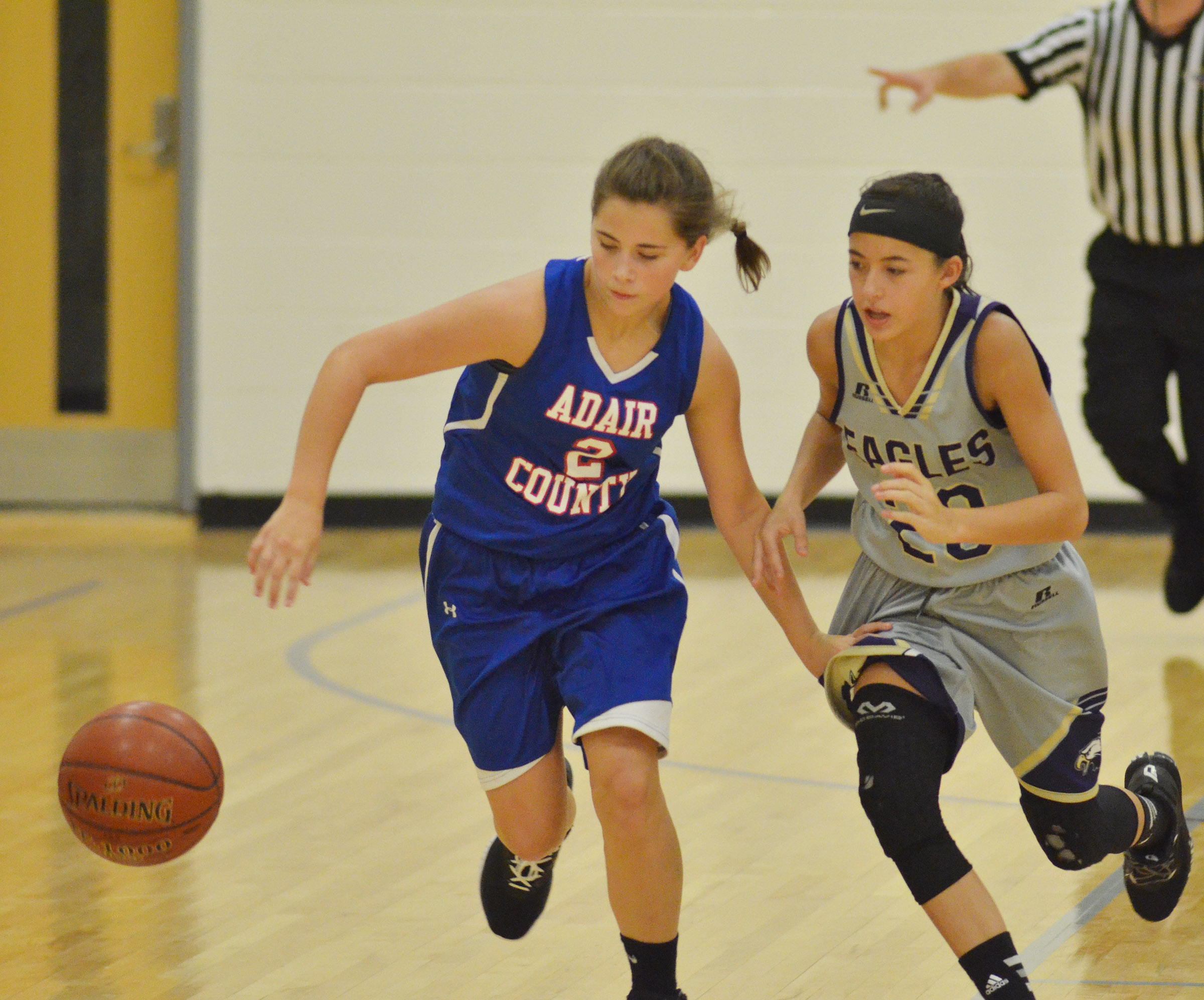 CMS eighth-grader Kaylyn Smith battles for the ball.