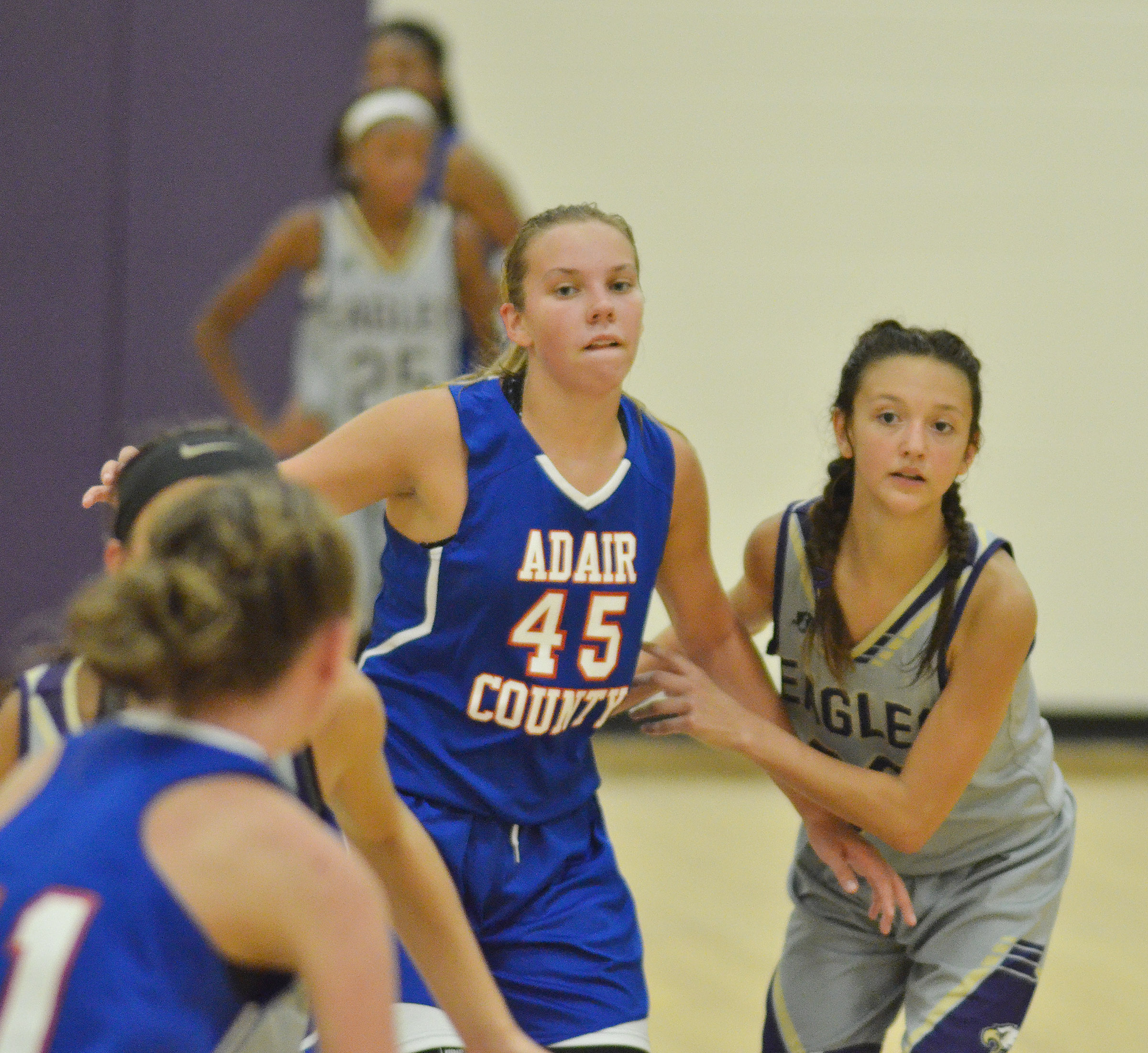 CMS seventh-grader Bri Hayes plays defense.