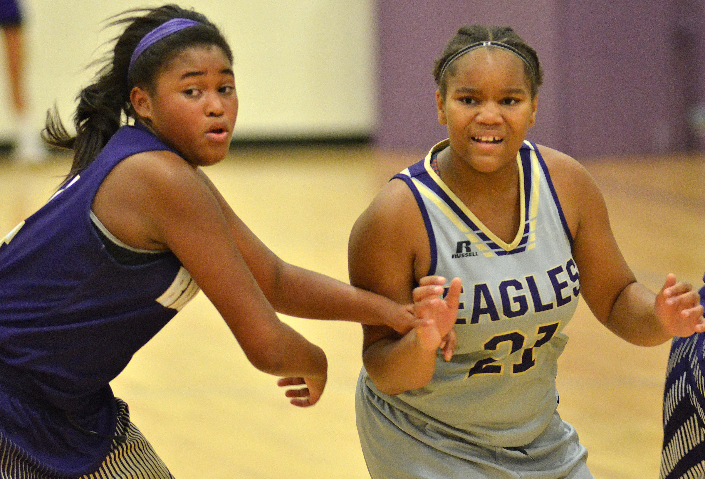 CMS seventh-grader Antaya Epps looks for the ball.
