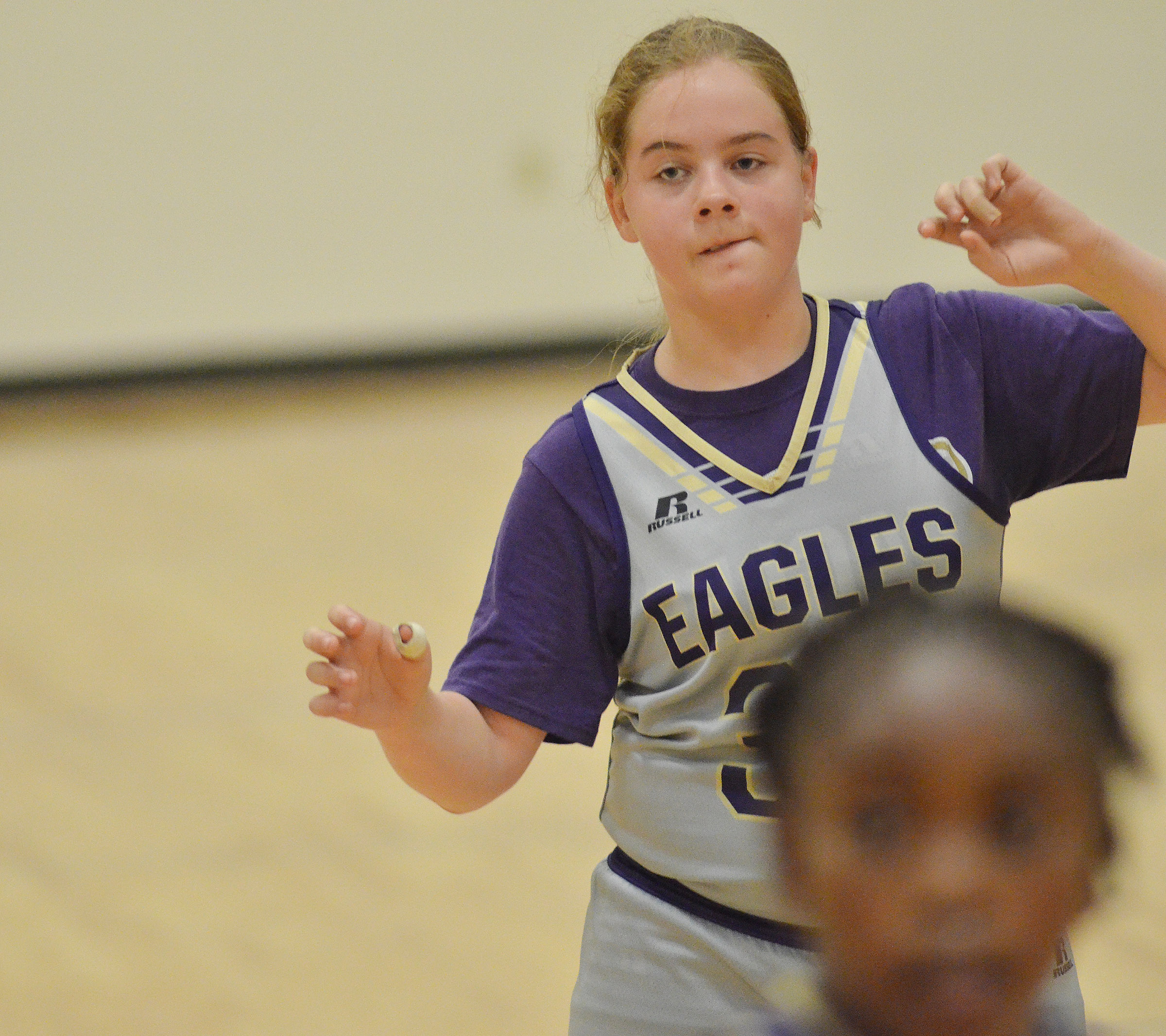 CMS sixth-grader Layla Steen calls for the ball.