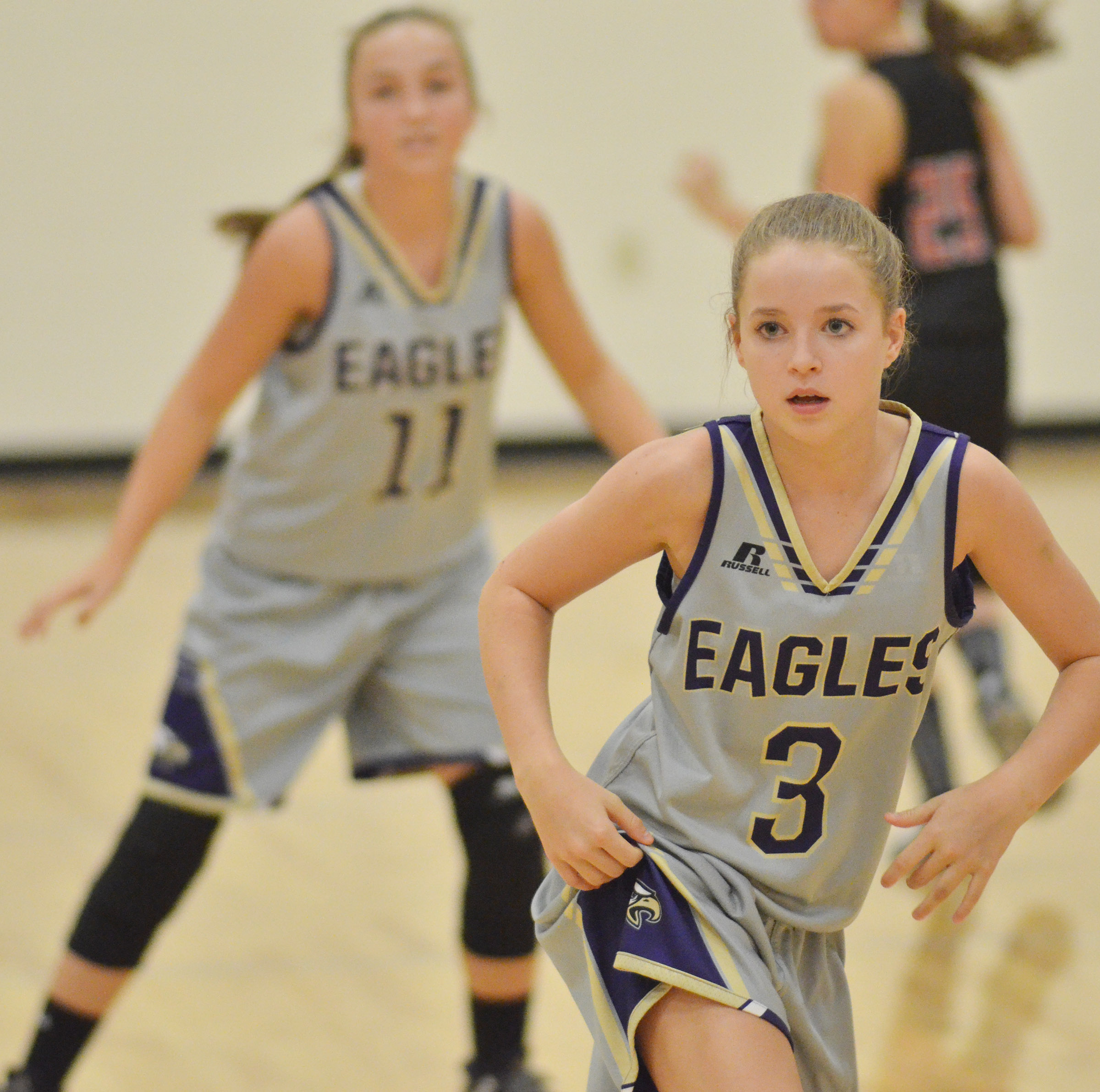 CMS eighth-grader Rylee Petett plays defense.