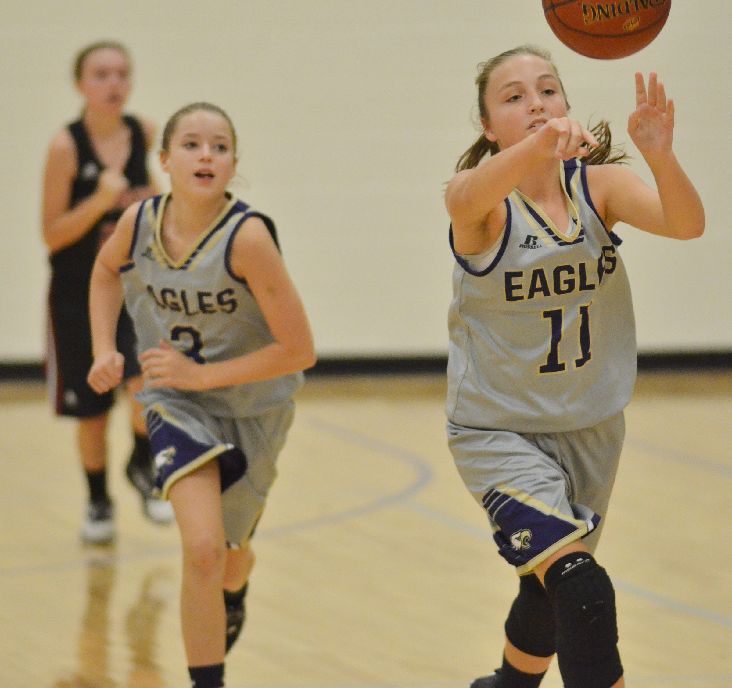 CMS eighth-grader Lainey Watson passes.