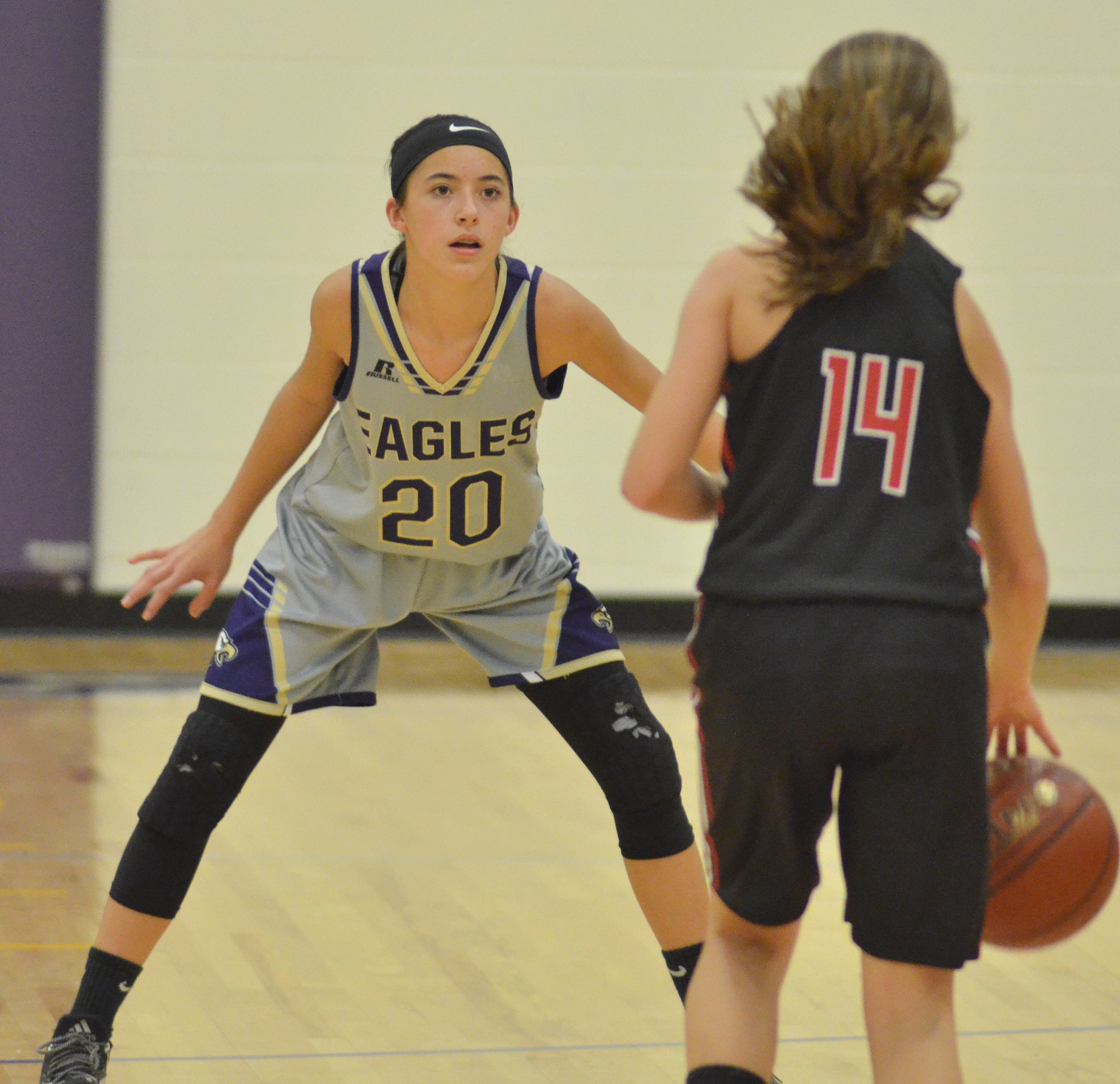 CMS eighth-grader Kaylyn Smith plays defense.