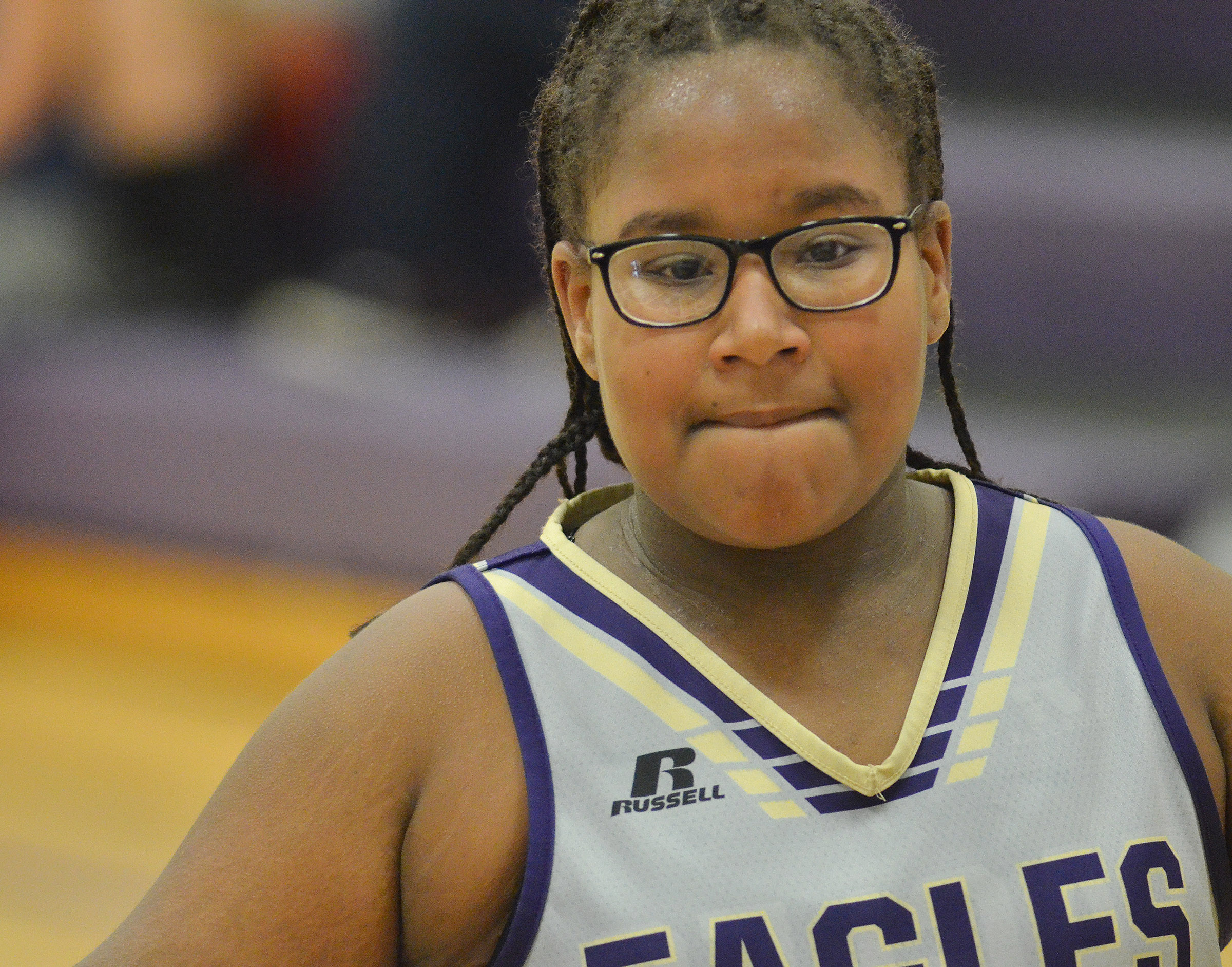 CMS sixth-grader KyAshia Mitchell plays defense.