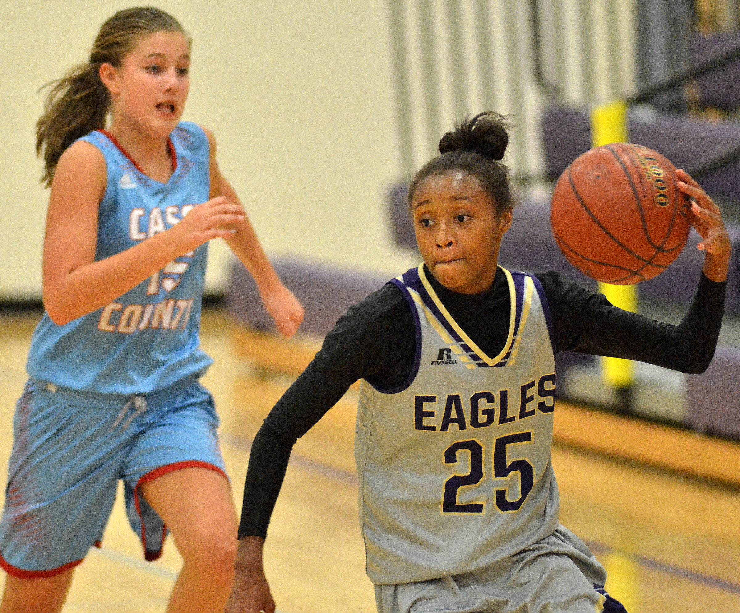 CMS eighth-grader Bri Gowdy dribbles to the basket.