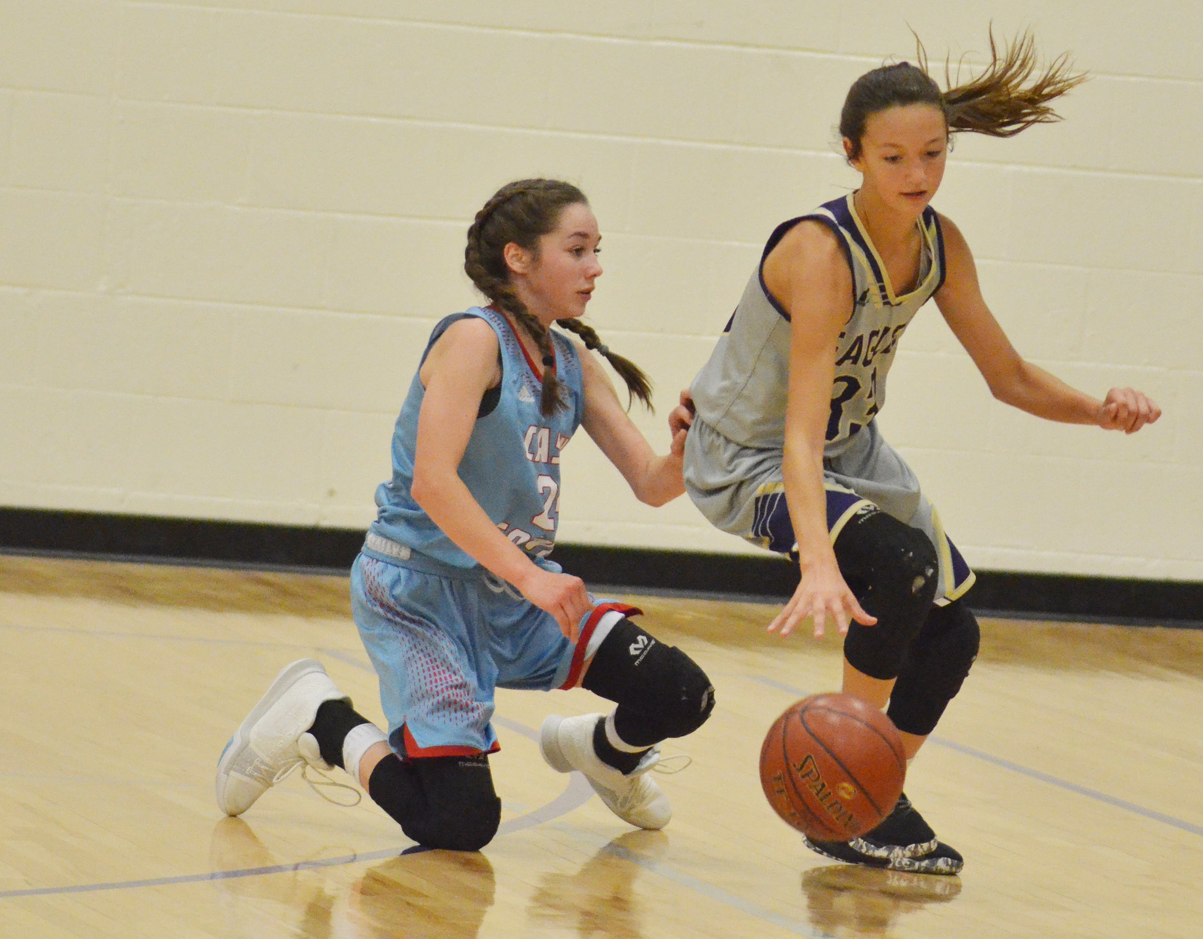 CMS seventh-grader Bri Hayes steals the ball.