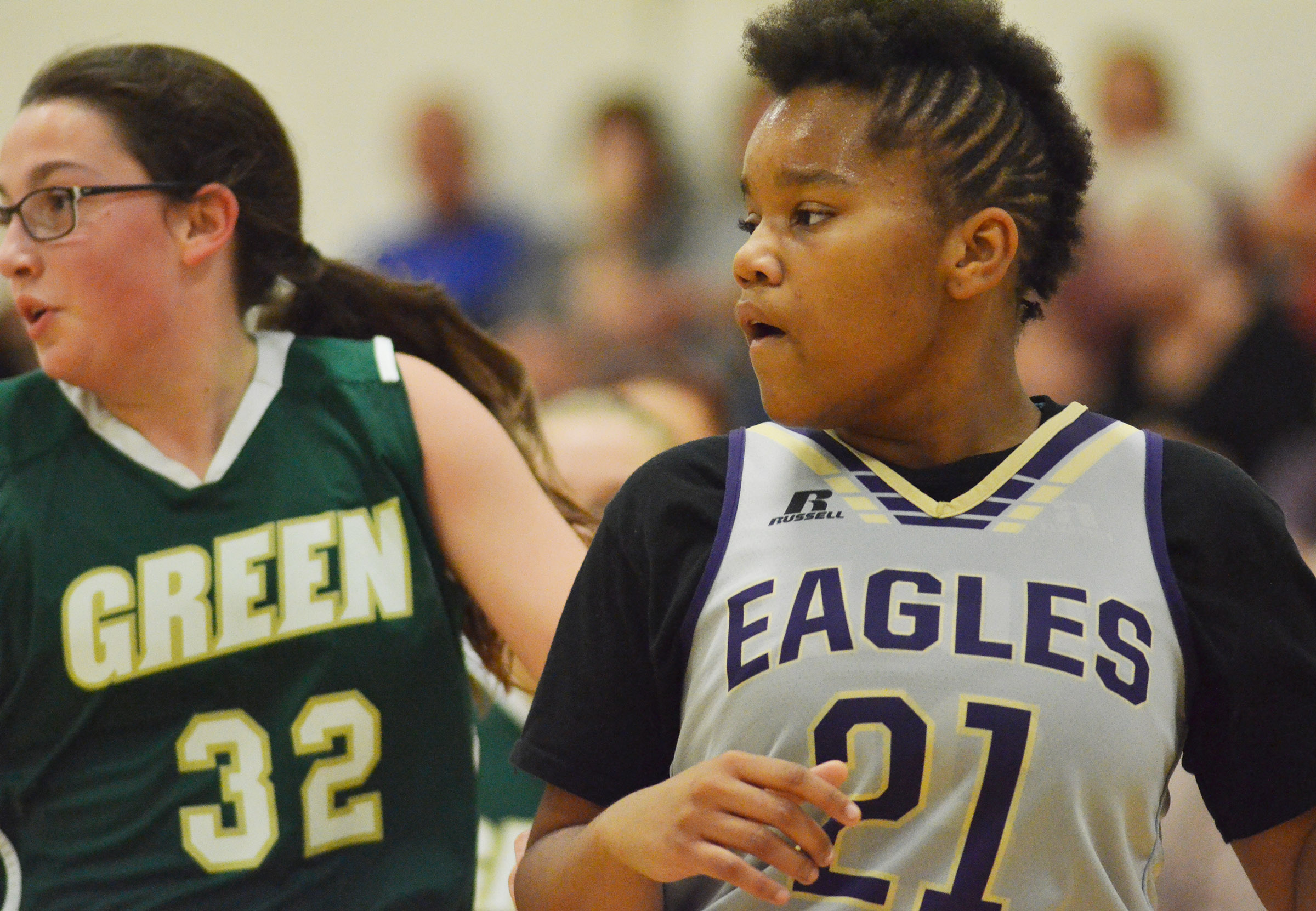 CMS seventh-grader Antaya Epps watches the ball.