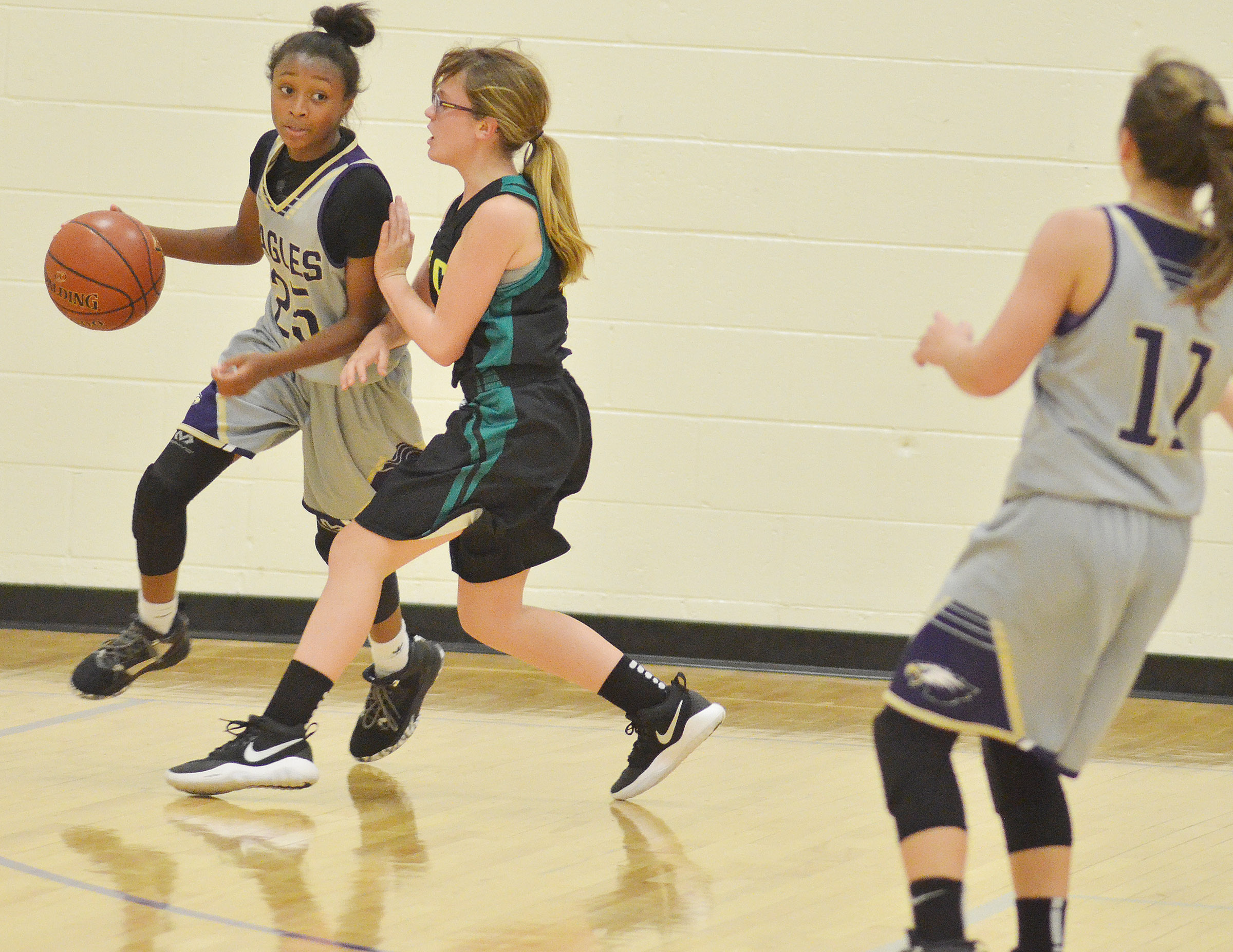CMS eighth-grader Bri Gowdy dribbles to the hoop.