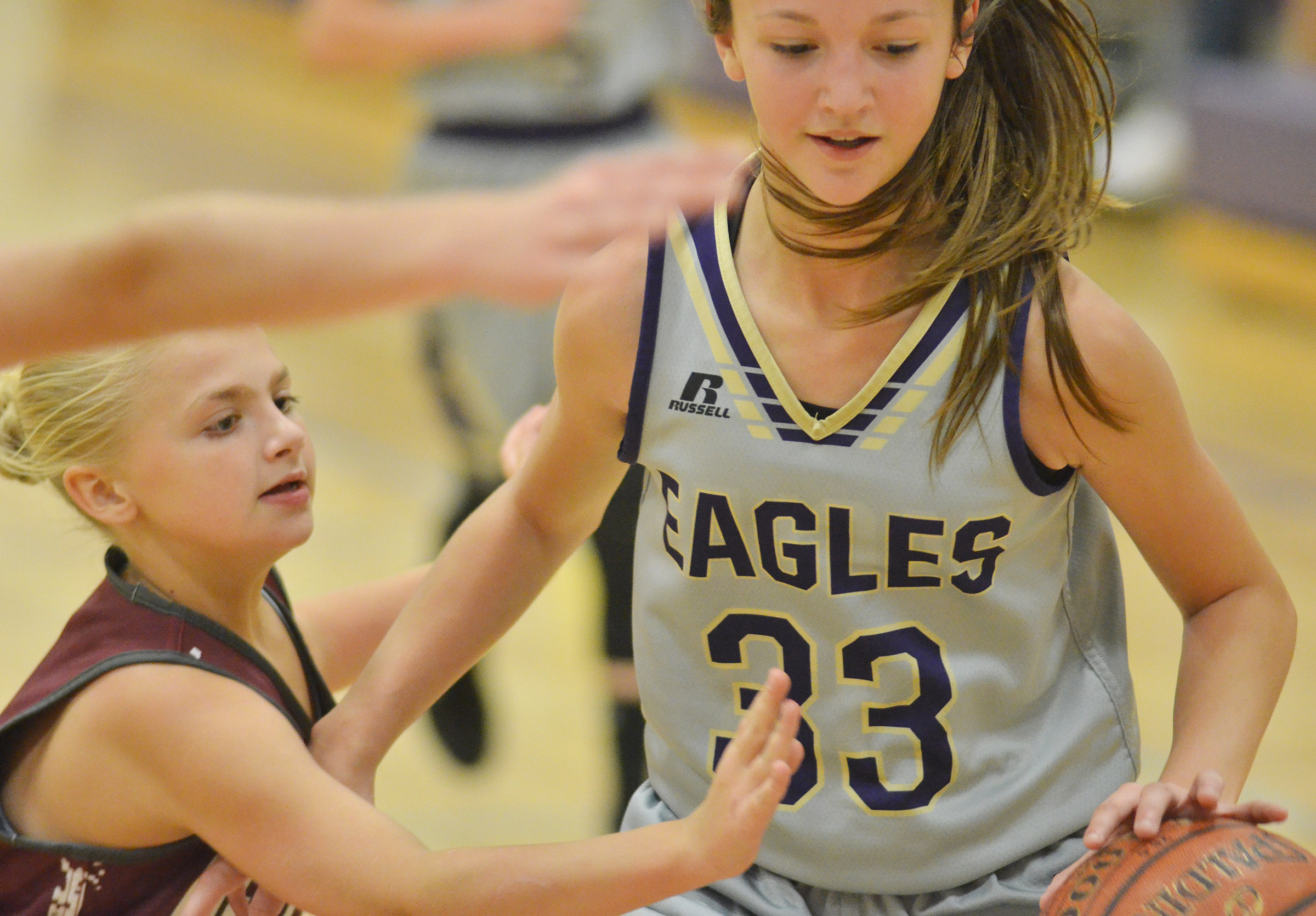 CMS seventh-grader Bri Hayes protects the ball.