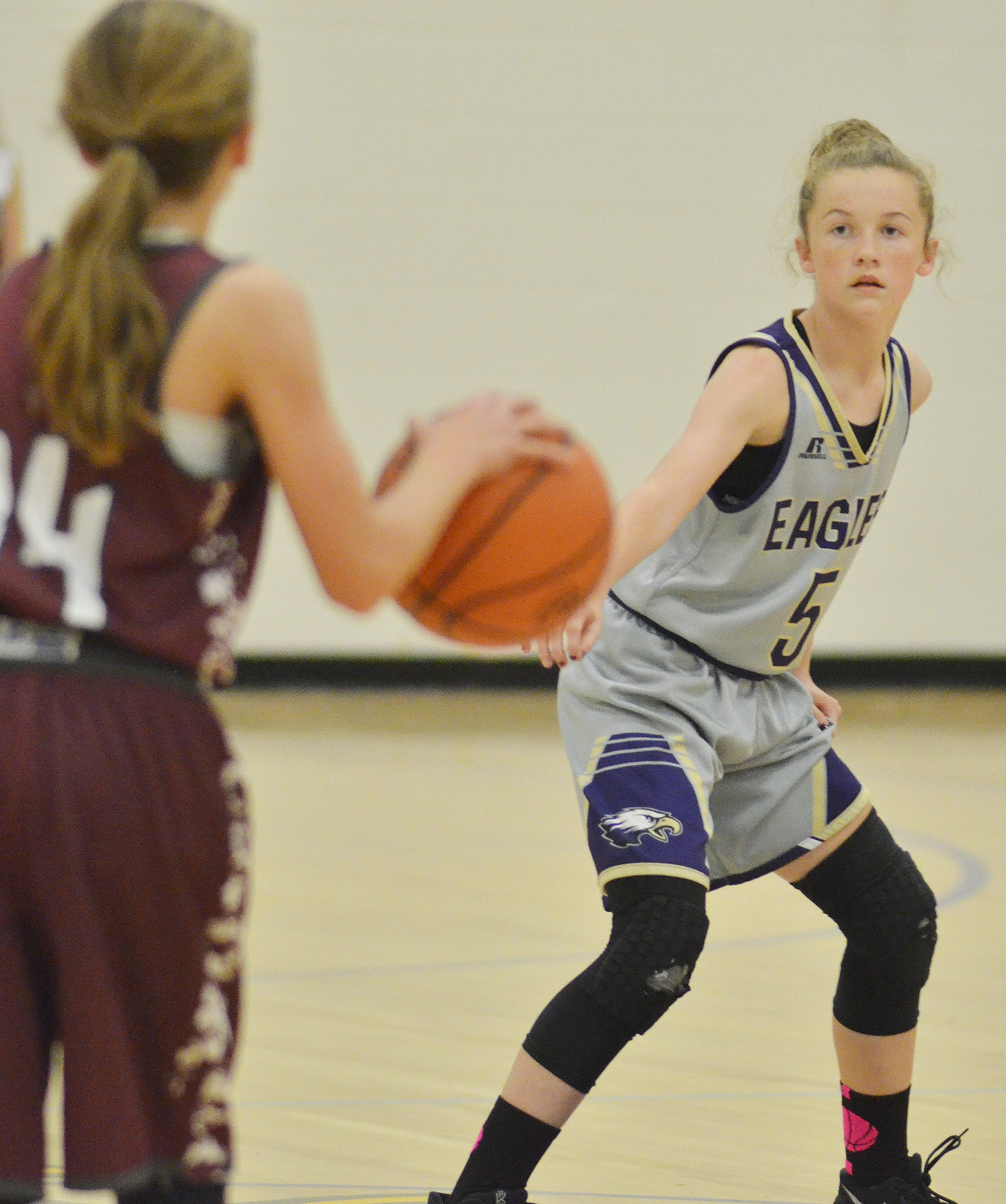 CMS seventh-grader Dakota Slone watches the ball.