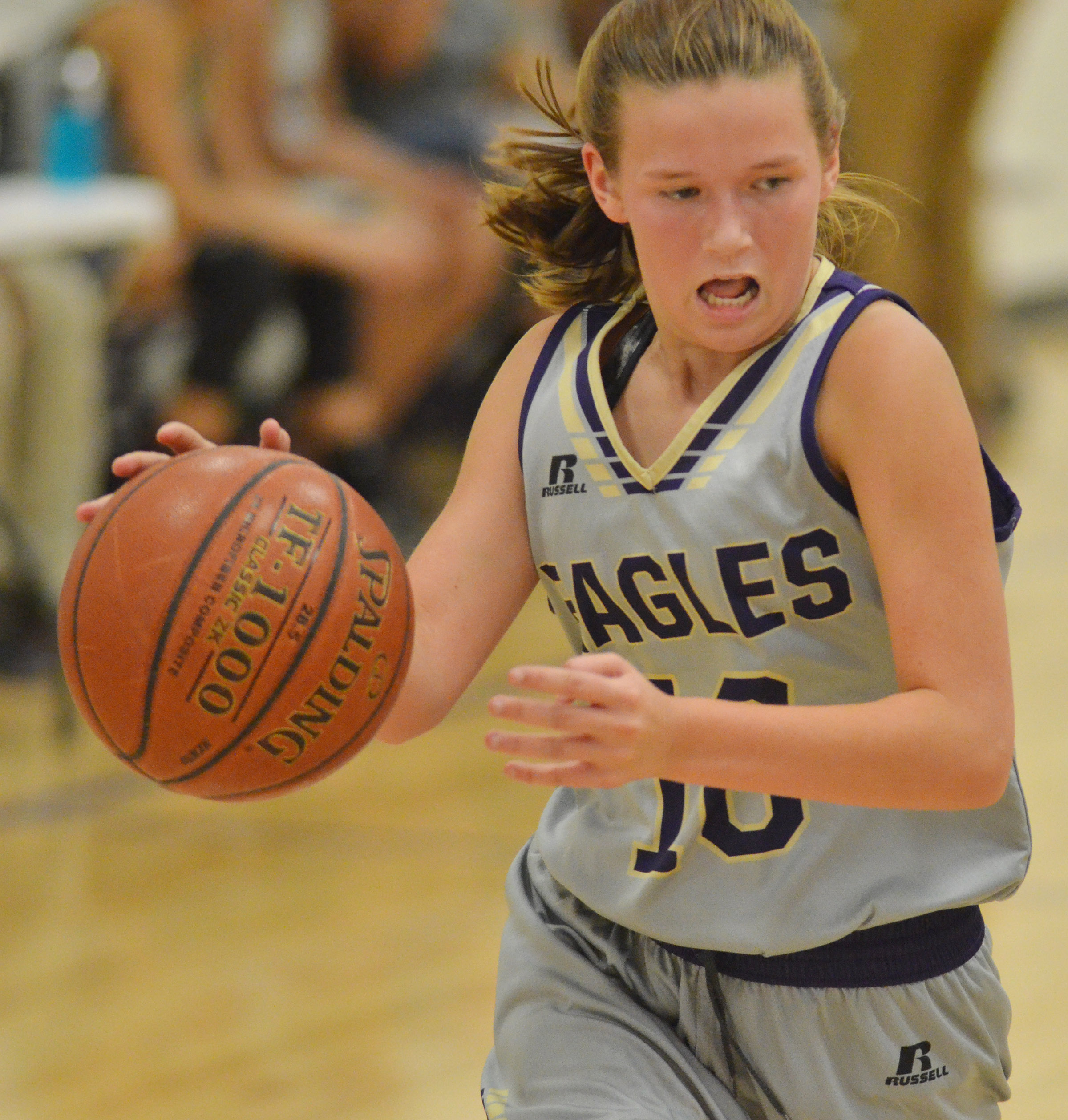 CMS seventh-grader BreAnna Humphress drives the ball.