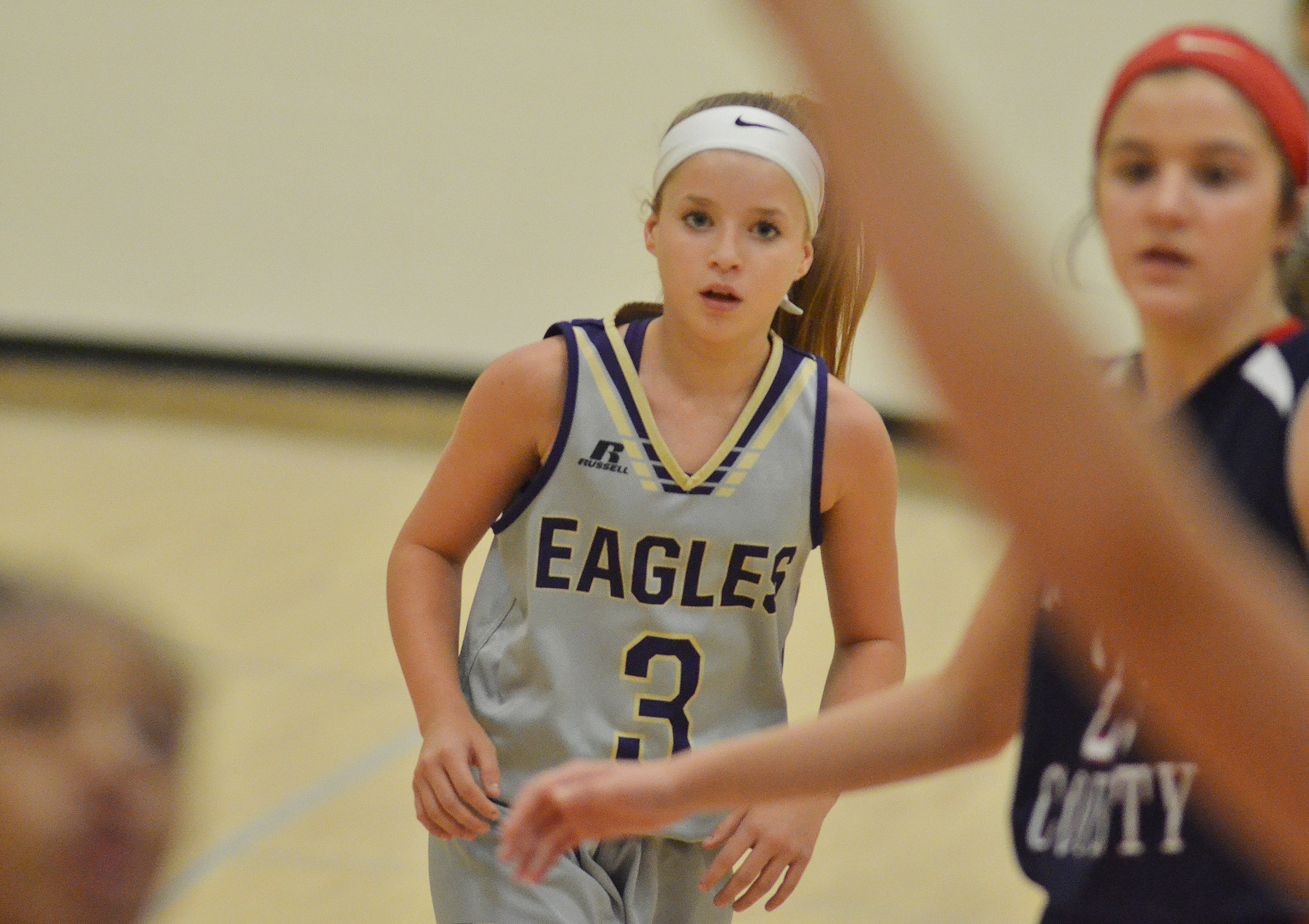 CMS eighth-grader Rylee Petett looks for a rebound.