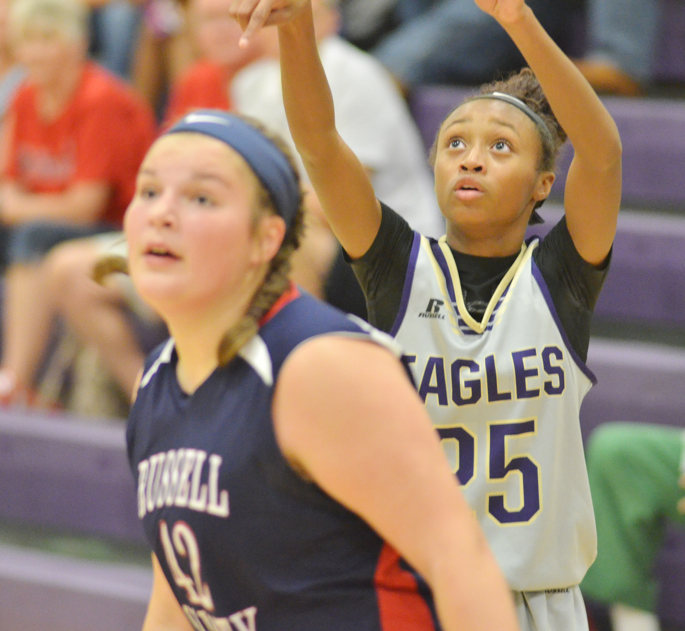 CMS eighth-grader Bri Gowdy shoots the ball.