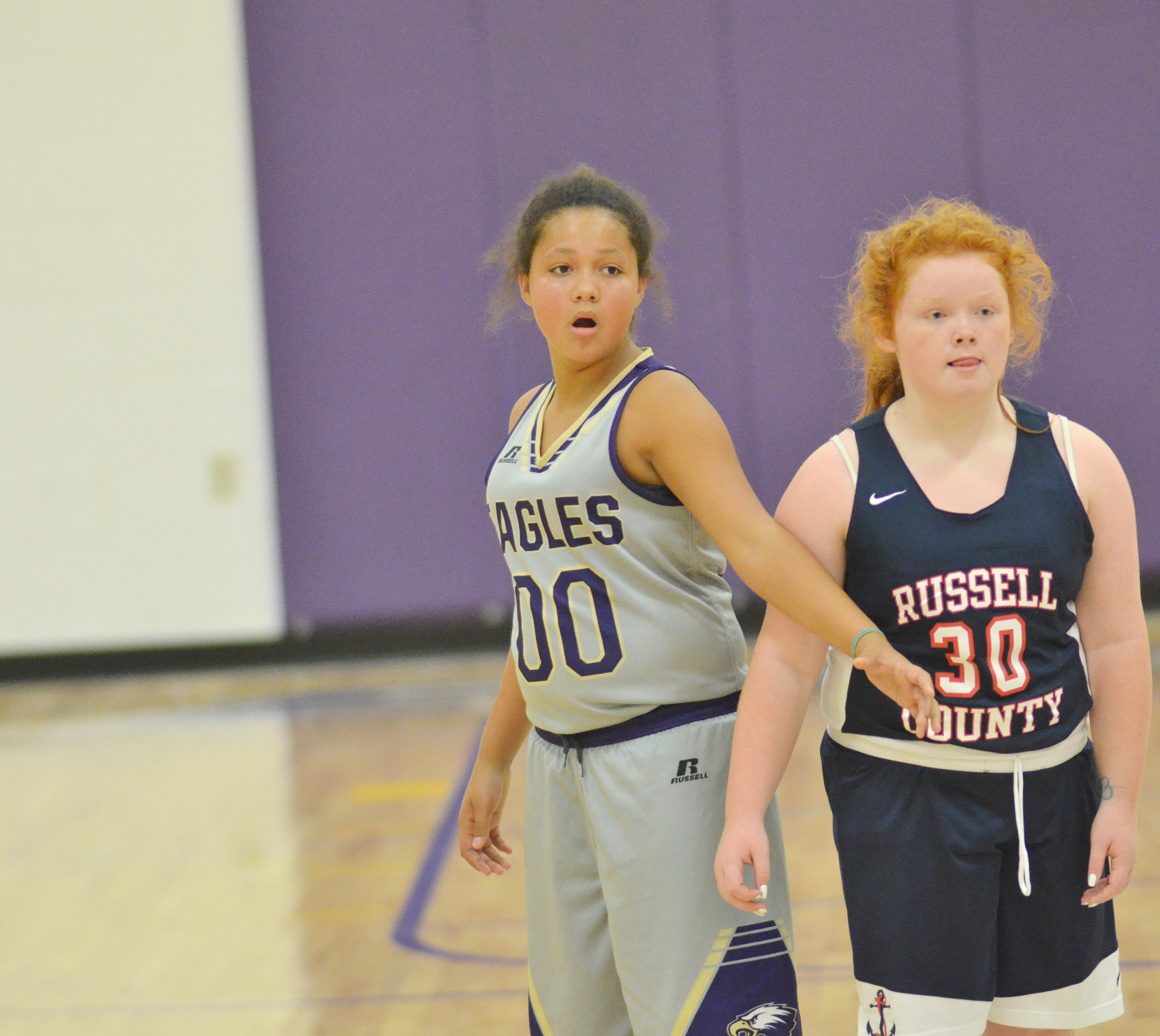 Campbellsville Elementary School fifth-grader Kenya Bridgewater plays defense.