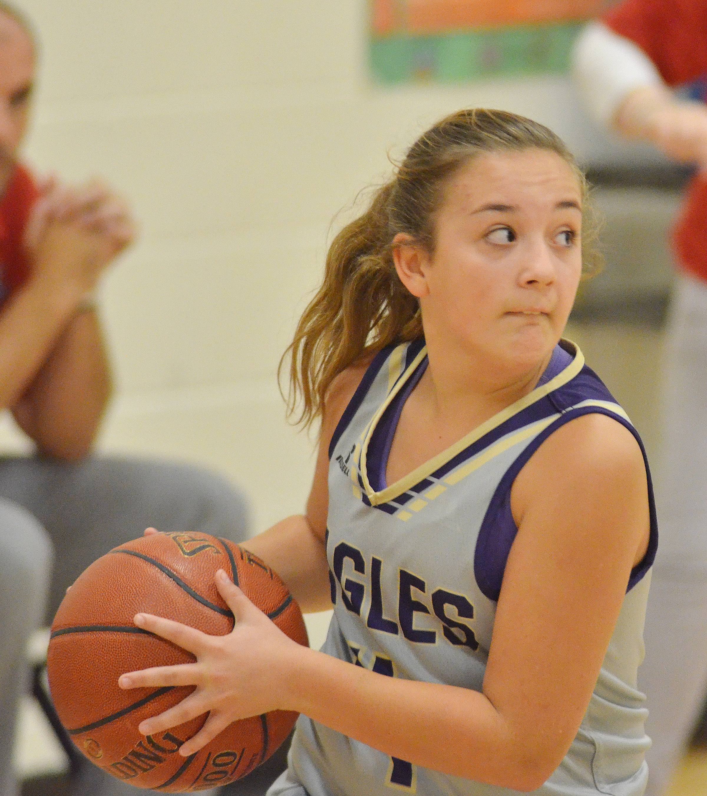 CMS seventh-grader Briana Davis looks to pass.