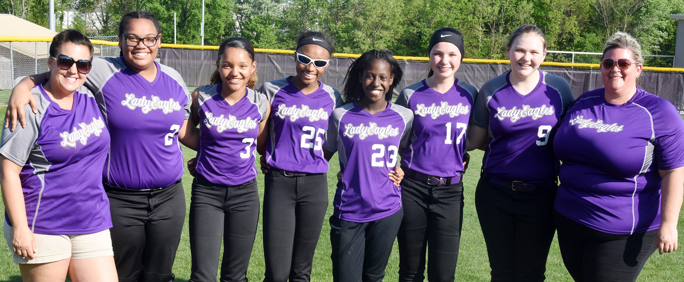 Campbellsville Middle School eighth-grade softball players were honored on Thursday, May 10. They are, from left, head coach Kathy England, Brae Washington, Alexis Thomas, Bri Gowdy, Myricle Gholston, Karley Morris, Isabella Vannice and assistant coach Allison Cox.