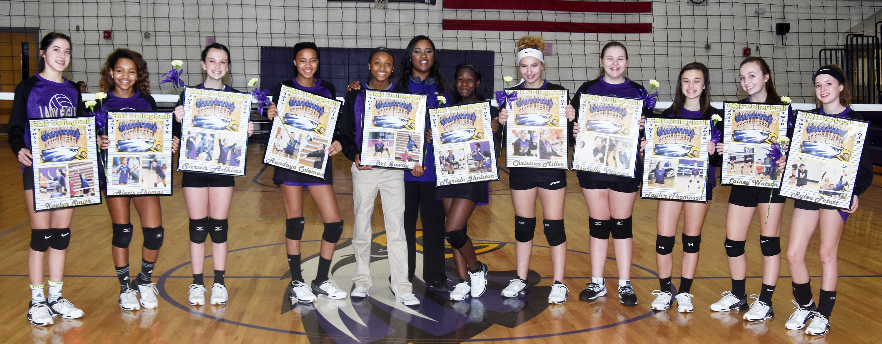 CMS eighth-grade volleyball players were honored on Tuesday, Feb. 10. They are, from left, Kaylyn Smith, Alexis Thomas, Sarah Adkins, Aundaya Coleman, Bri Gowdy, coach Shajuana Ditto, Myricle Gholston, Christina Miller, Isabella Vannice, Tayler Thompson, Lainey Watson and Rylee Petett.