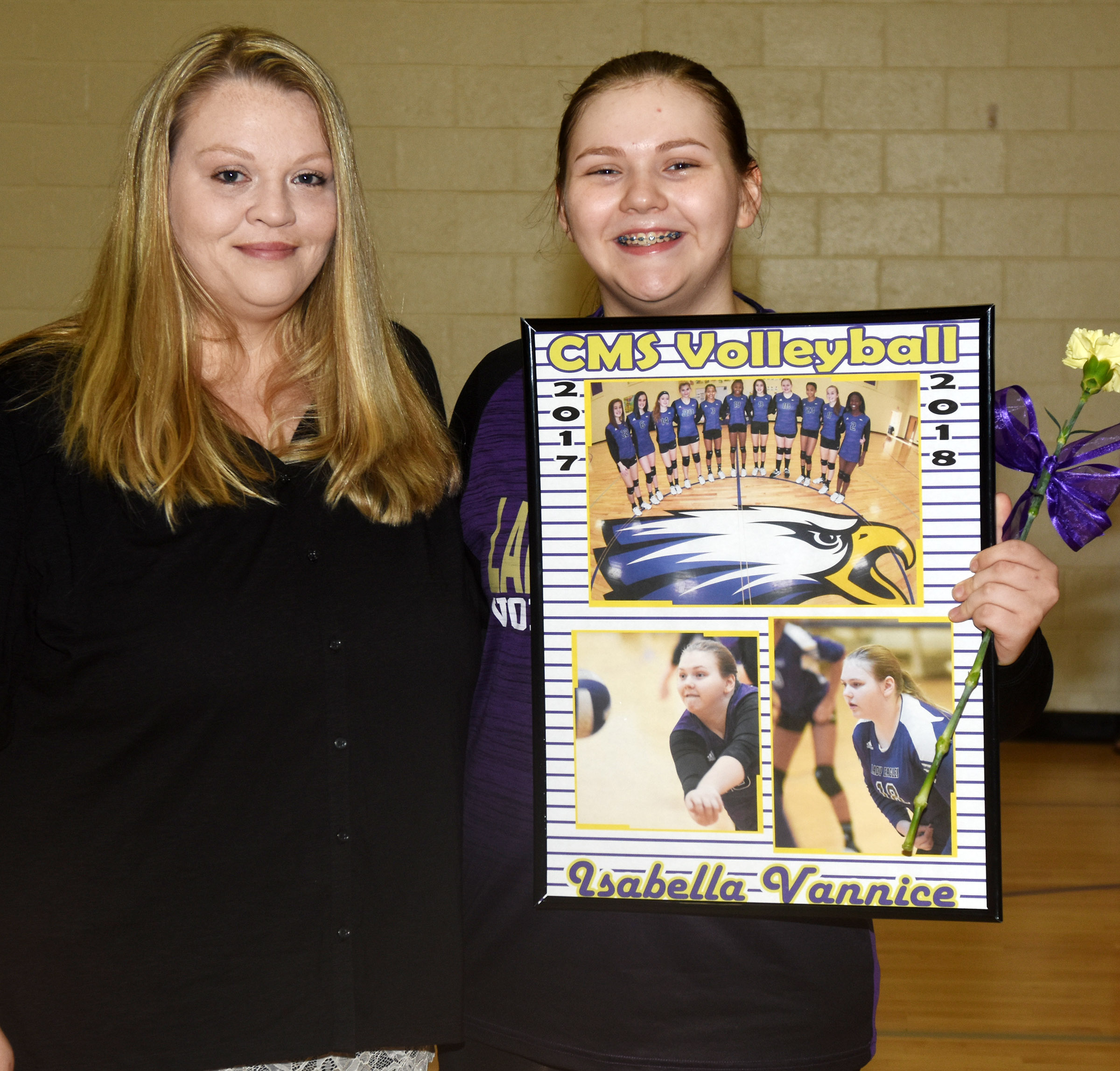 CMS eighth-grader Isabella Vannice is honored for her dedication and hard work this season. She is pictured with her mother, Debra.