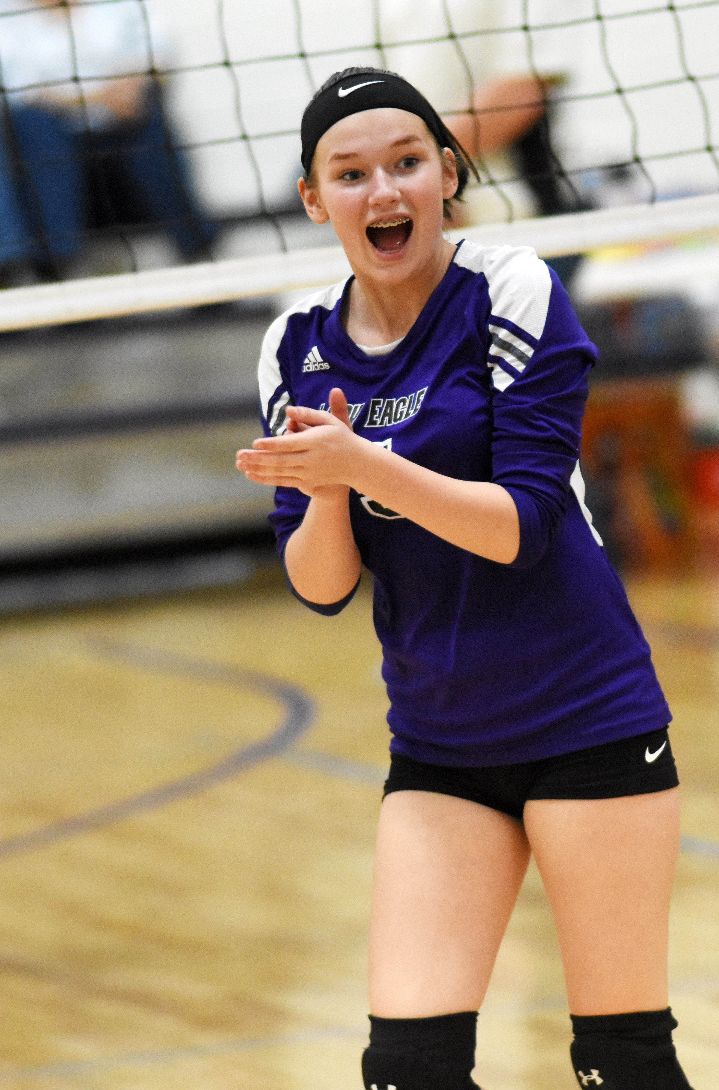 CMS seventh-grader BreAnna Humphress cheers after a point.