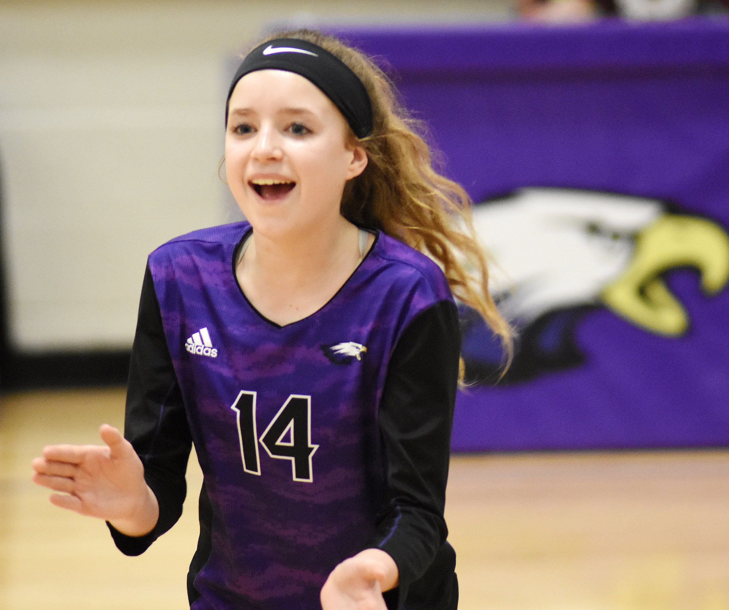 CMS eighth-grader Rylee Petett cheers.