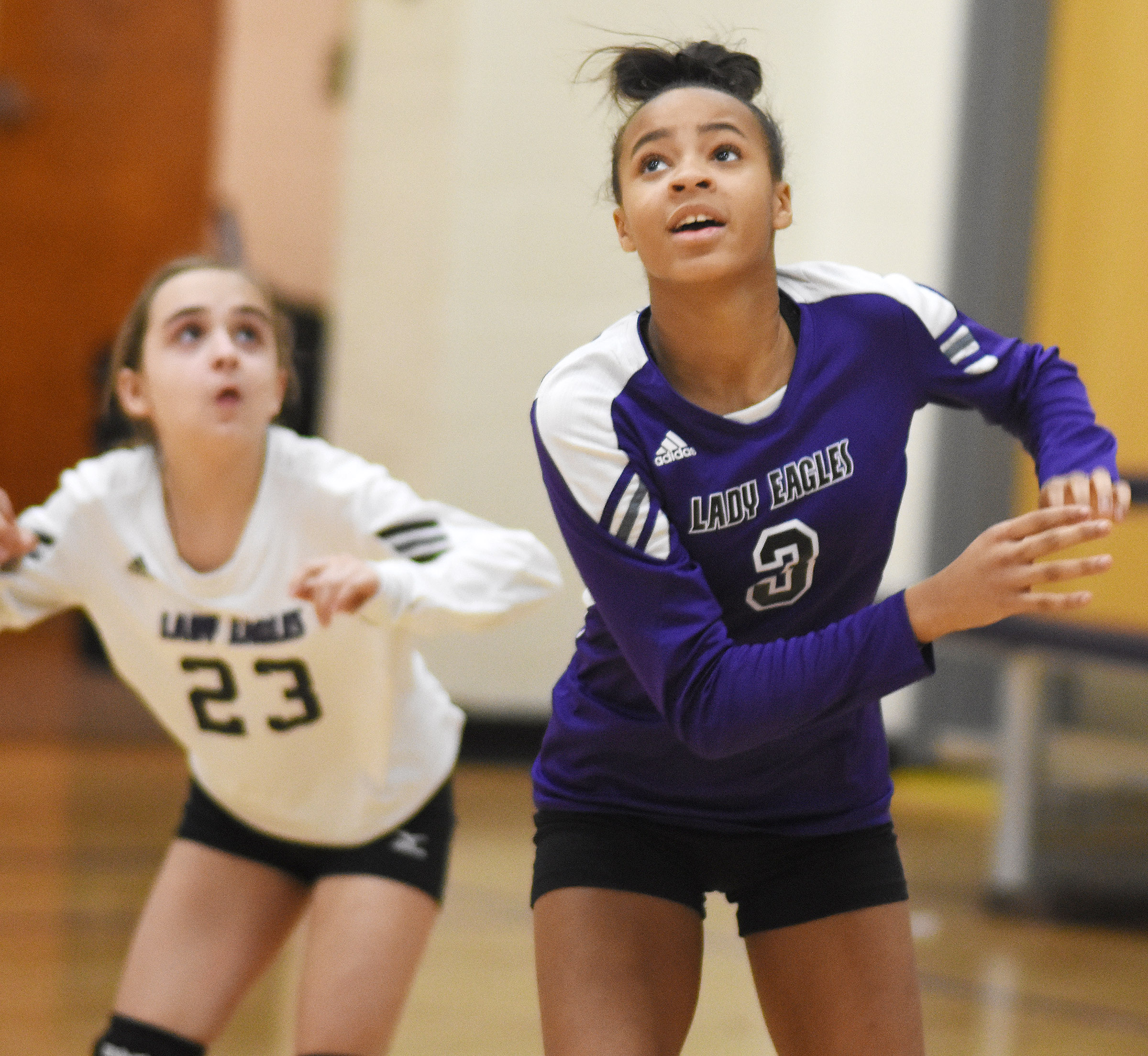 CMS eighth-grader Aundaya Coleman watches the ball.
