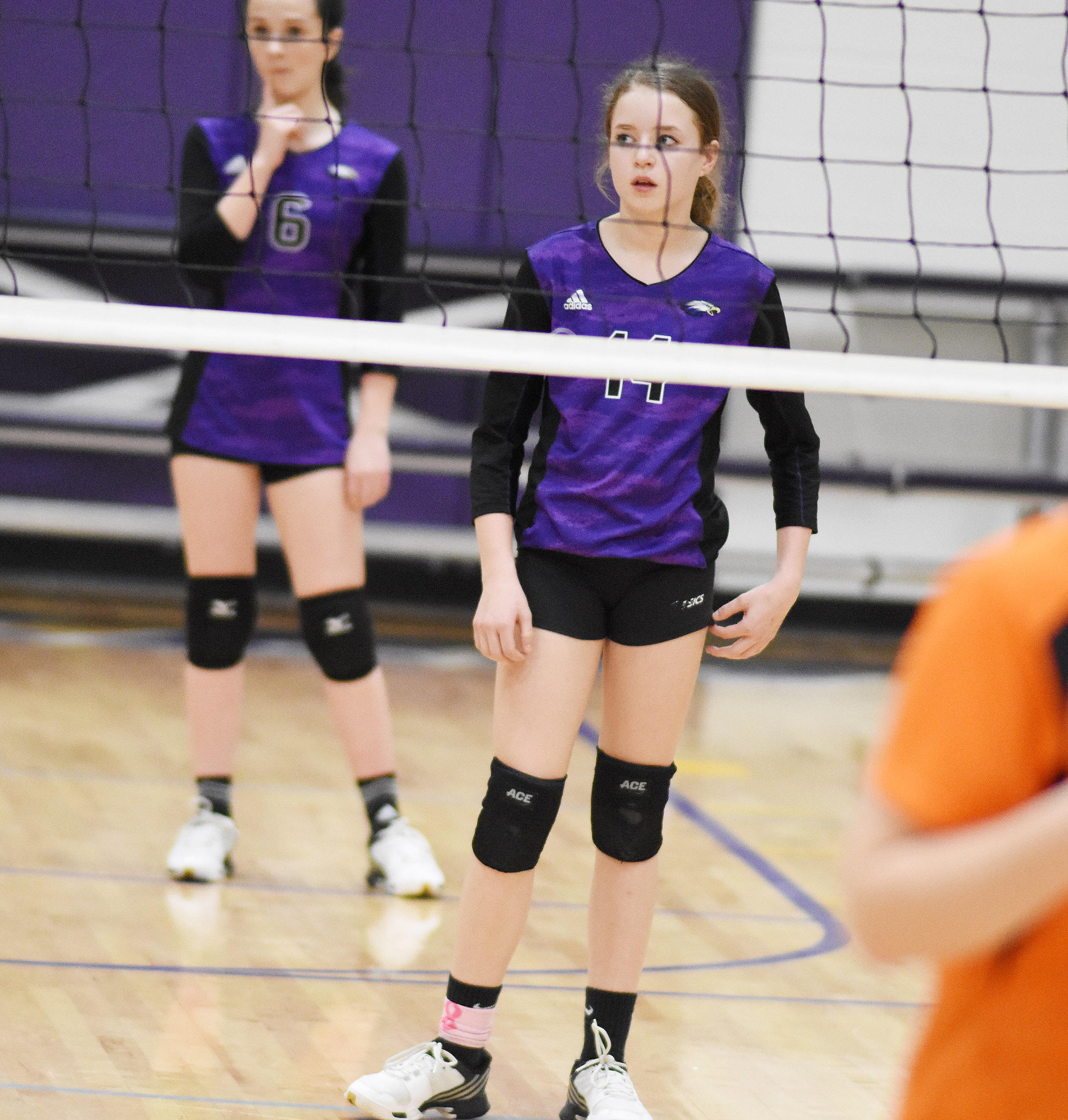 CMS eighth-grader Rylee Petett gets ready for the serve.