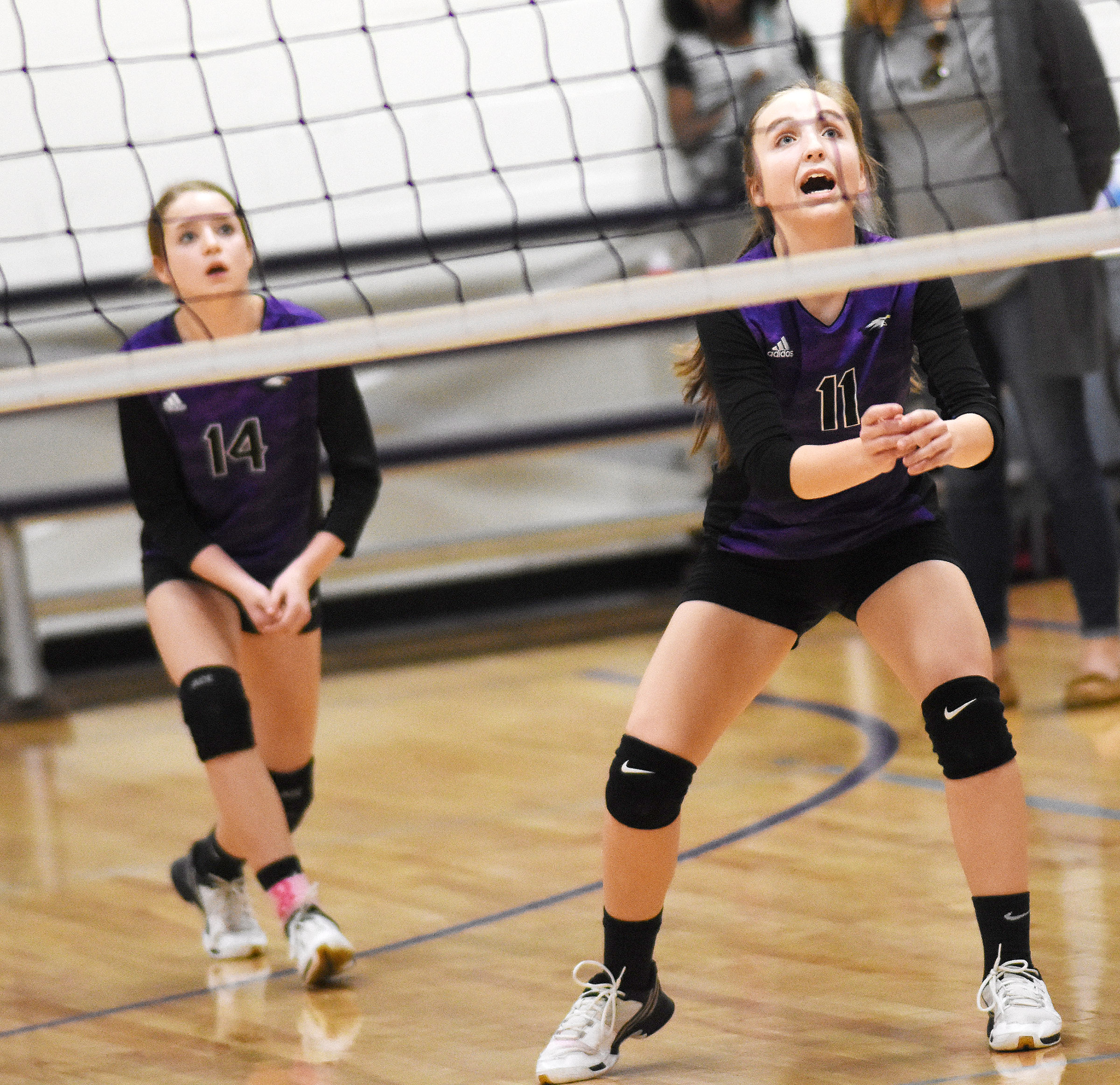 CMS eighth-grader Lainey Watson calls the ball.