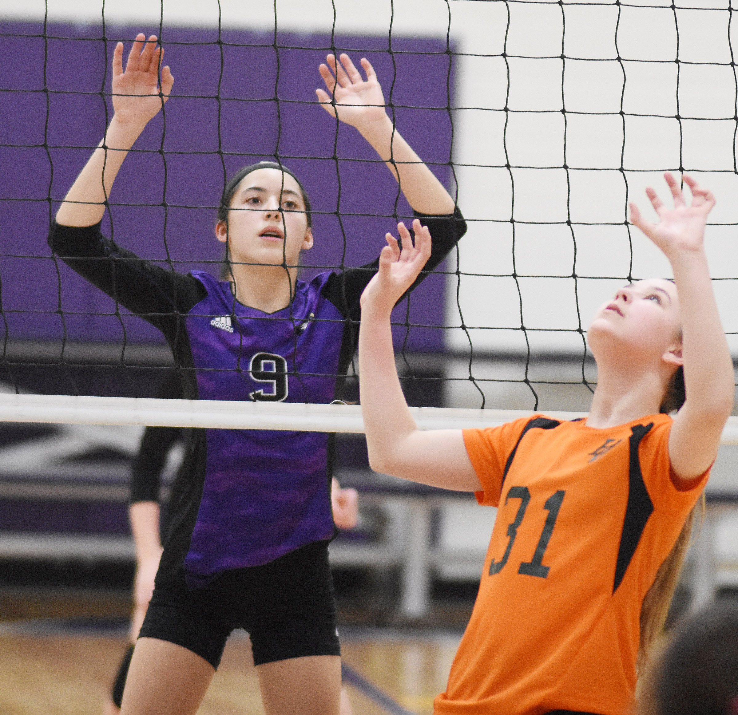 CMS eighth-grader Kaylyn Smith gets ready to block.